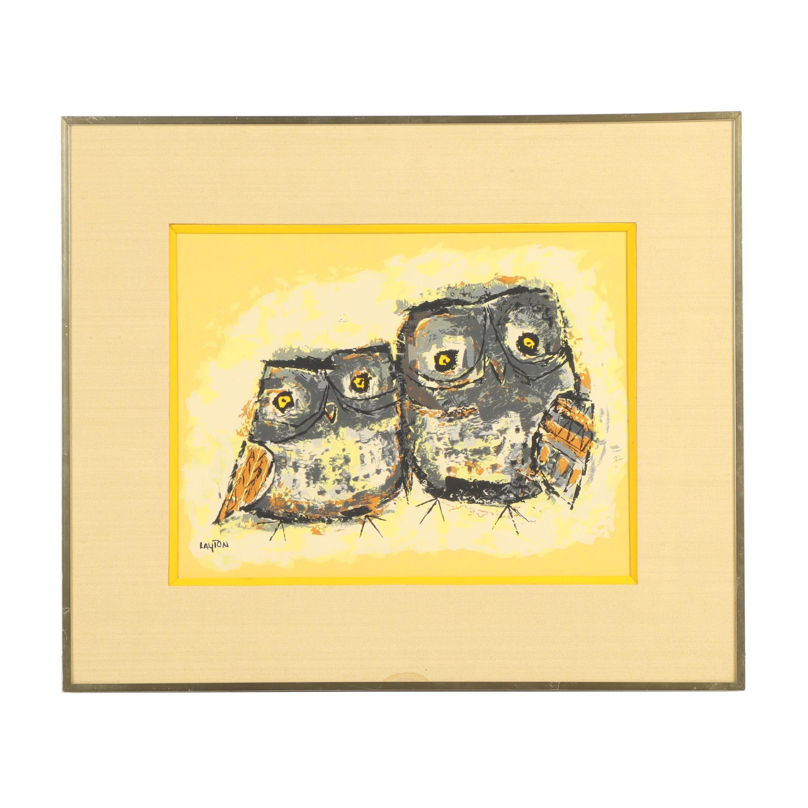 Margaret Layton Owl Serigraph
