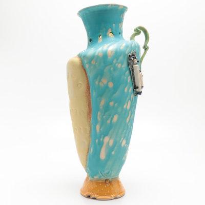 Larry Watson Thrown Mixed Media Wax Resist Glazed Porcelain Floor Vase