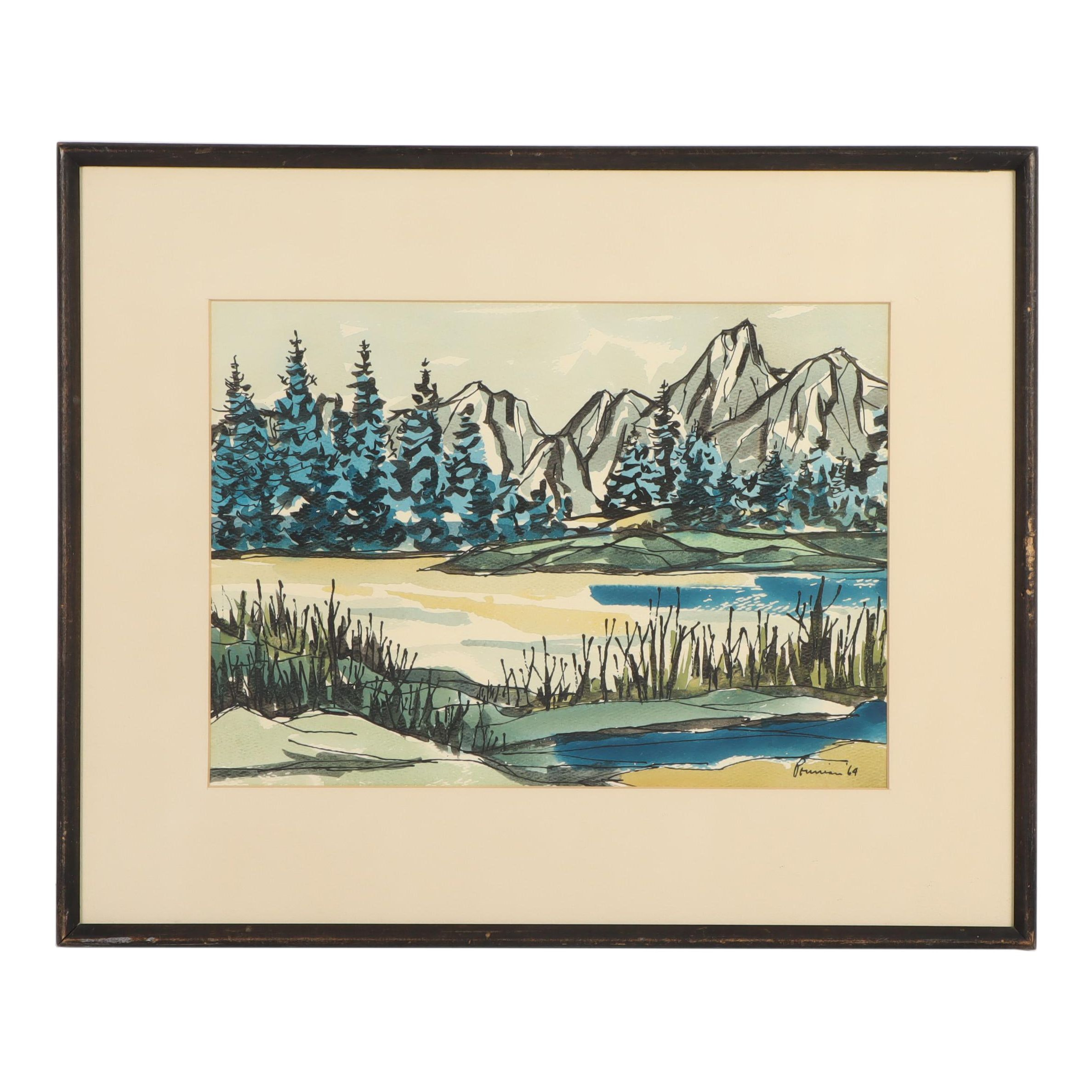 Albert Pounian Landscape Gouache and Ink Painting