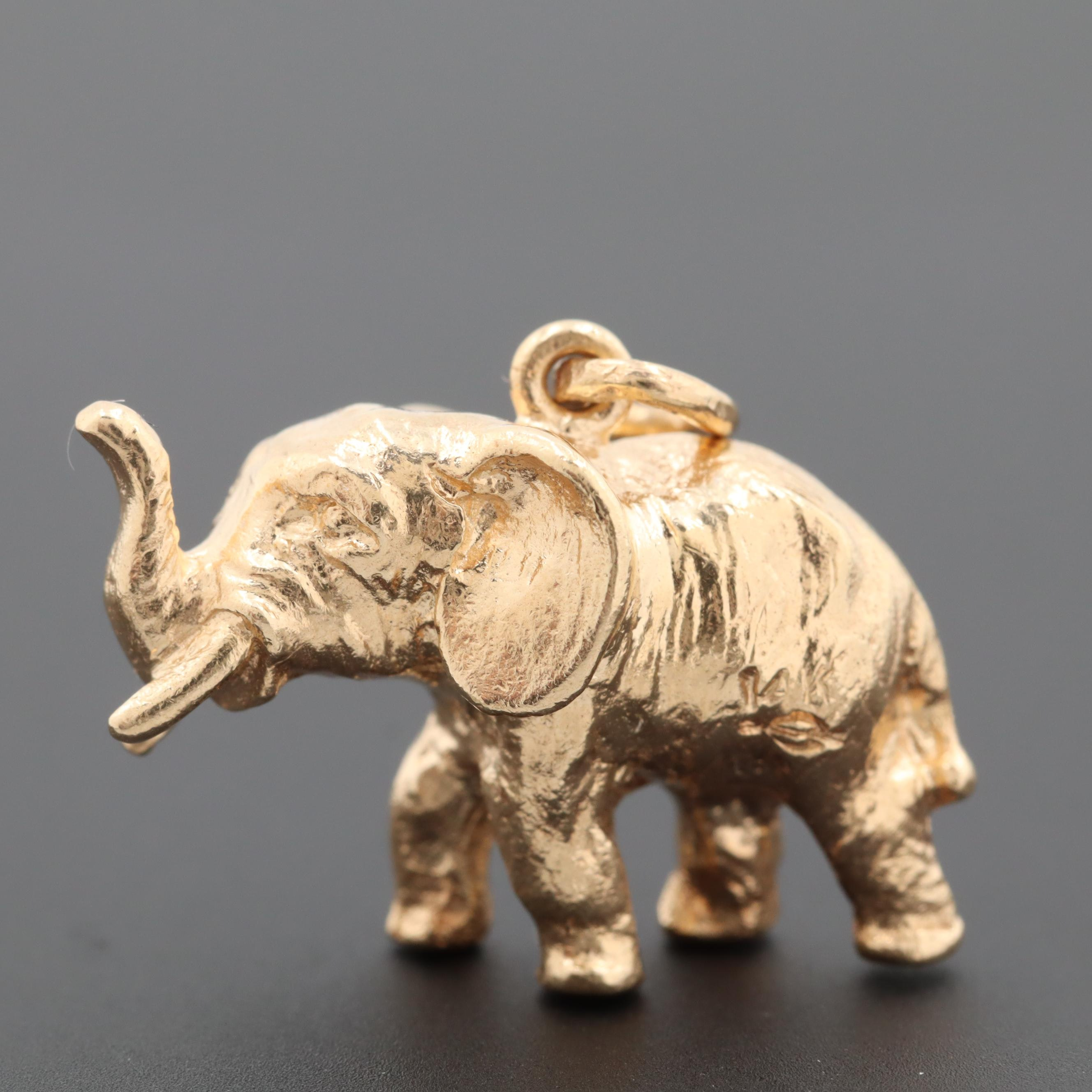 14K Yellow Gold Lucky Elephant Charm Pendant