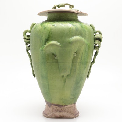 """Larry Watson Thrown and Altered Sculptural Porcelain """"Face Jar"""""""