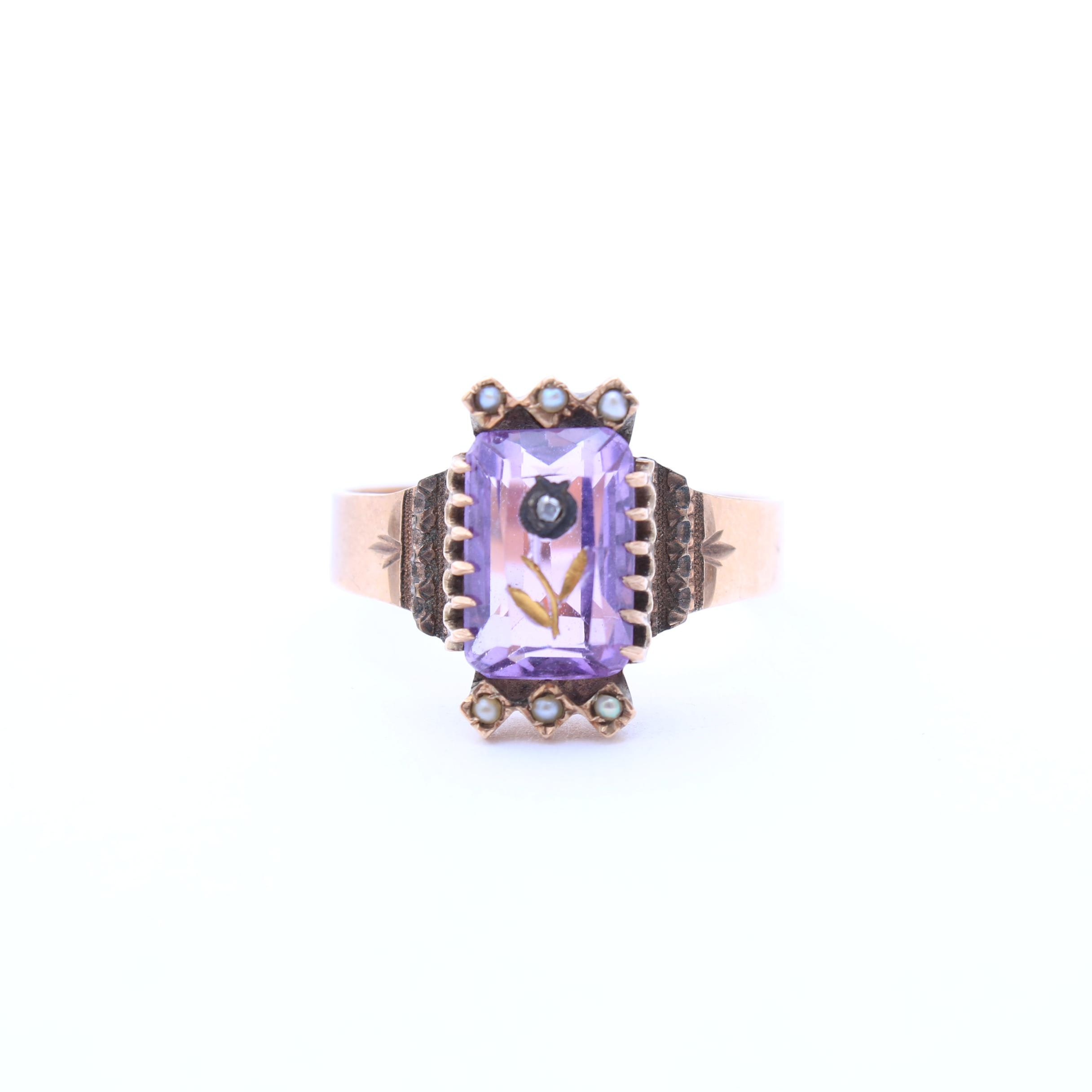 10K Yellow Gold Amethyst, Seed Pearl, and Diamond Ring