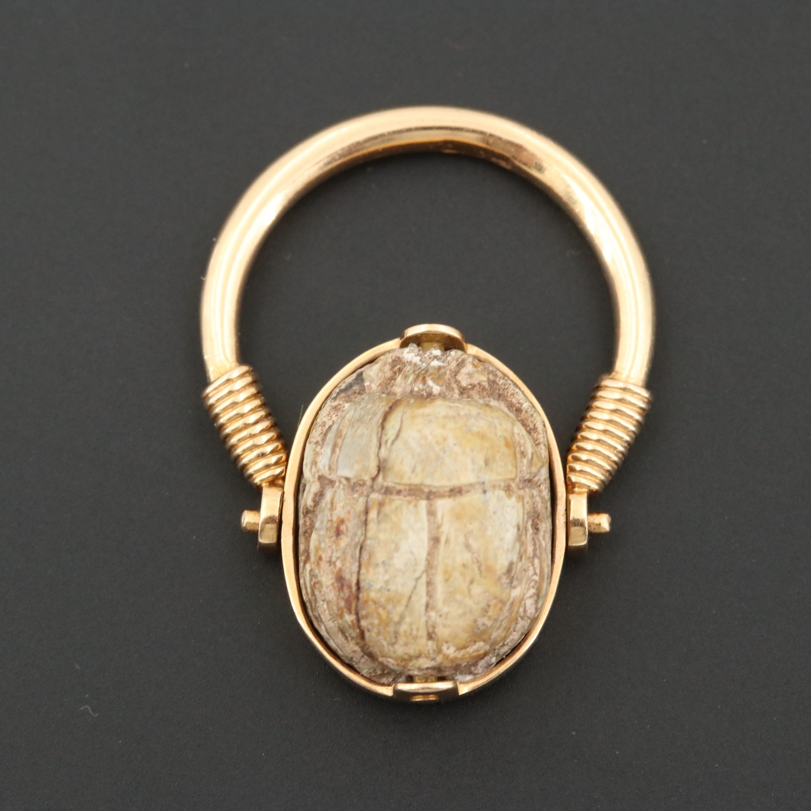 Vintage 1979 18K Yellow Gold Egyptian Faience Scarab Reversible Ring