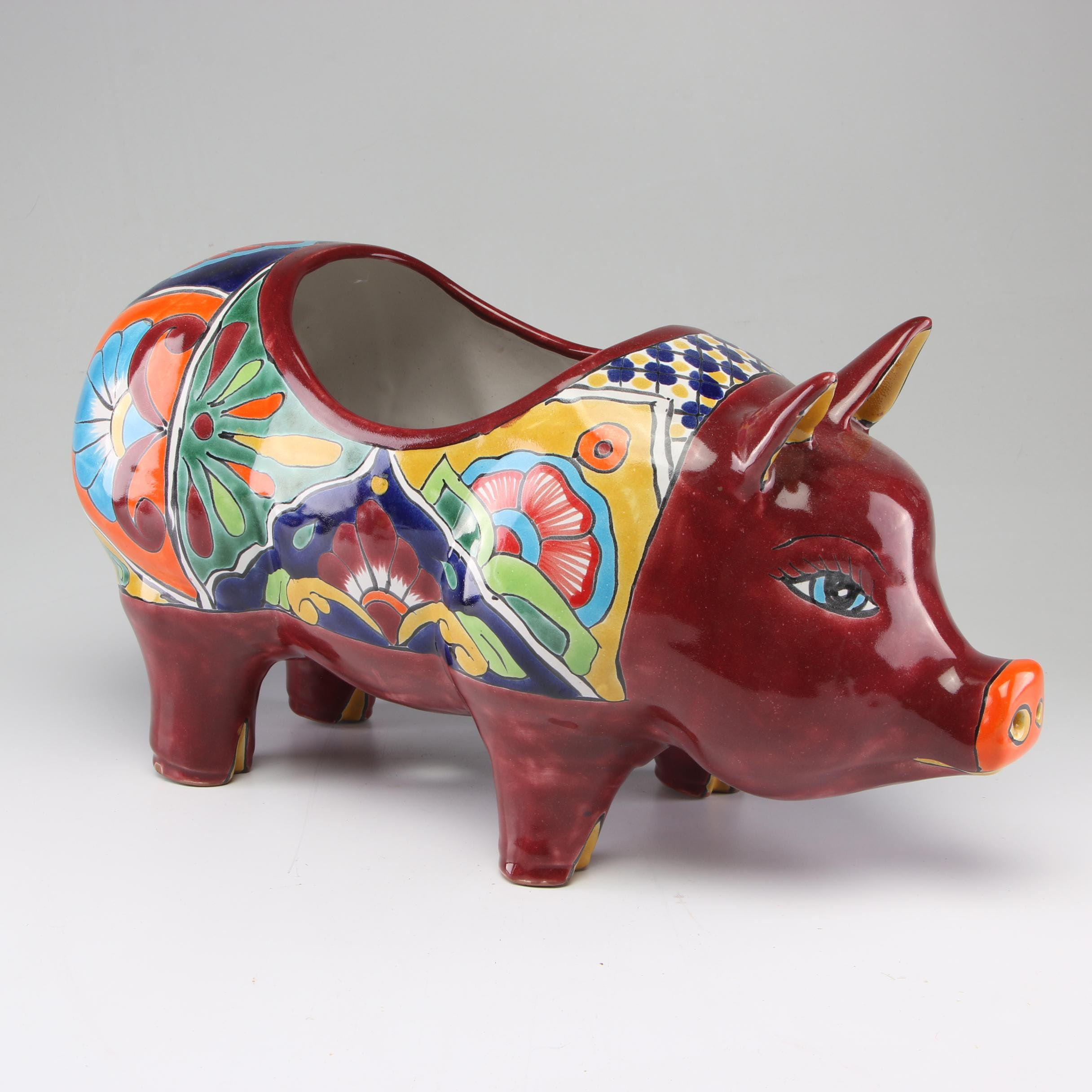 Hand-Painted Mexican Talavera Earthenware Pig Planter