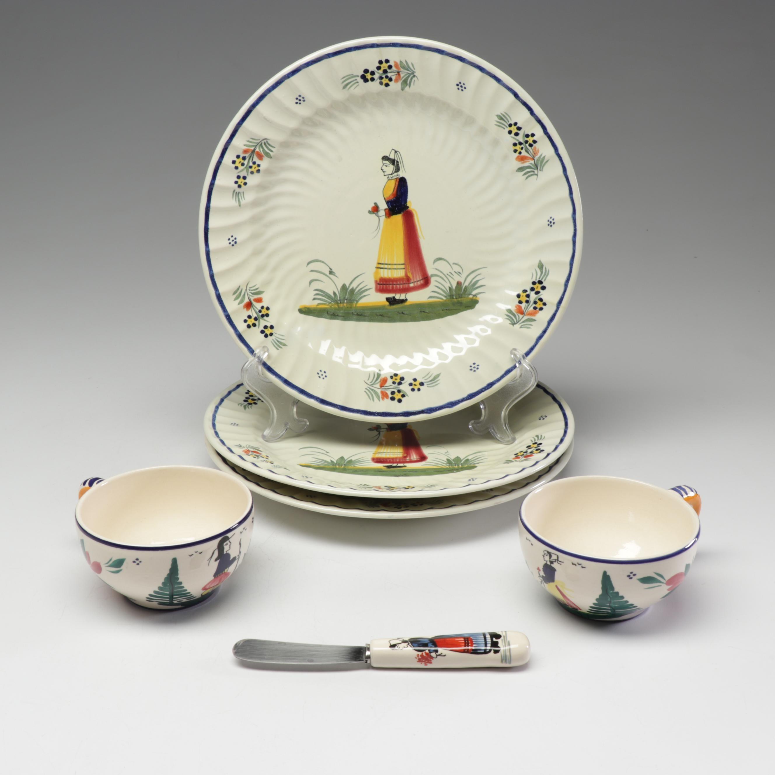 Henriot Quimper Hand-Painted Tableware