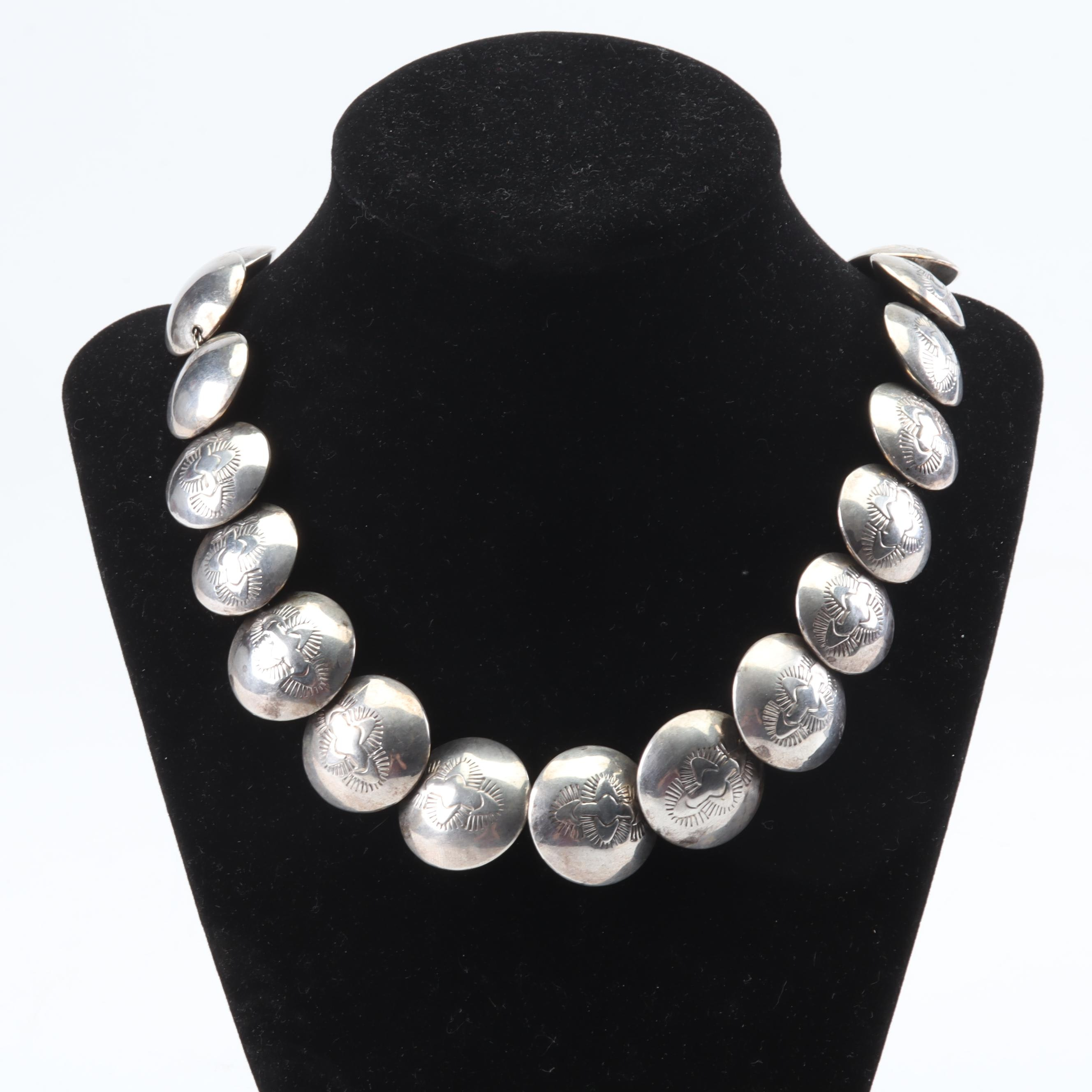 Sterling Silver Southwestern Style Beaded Necklace