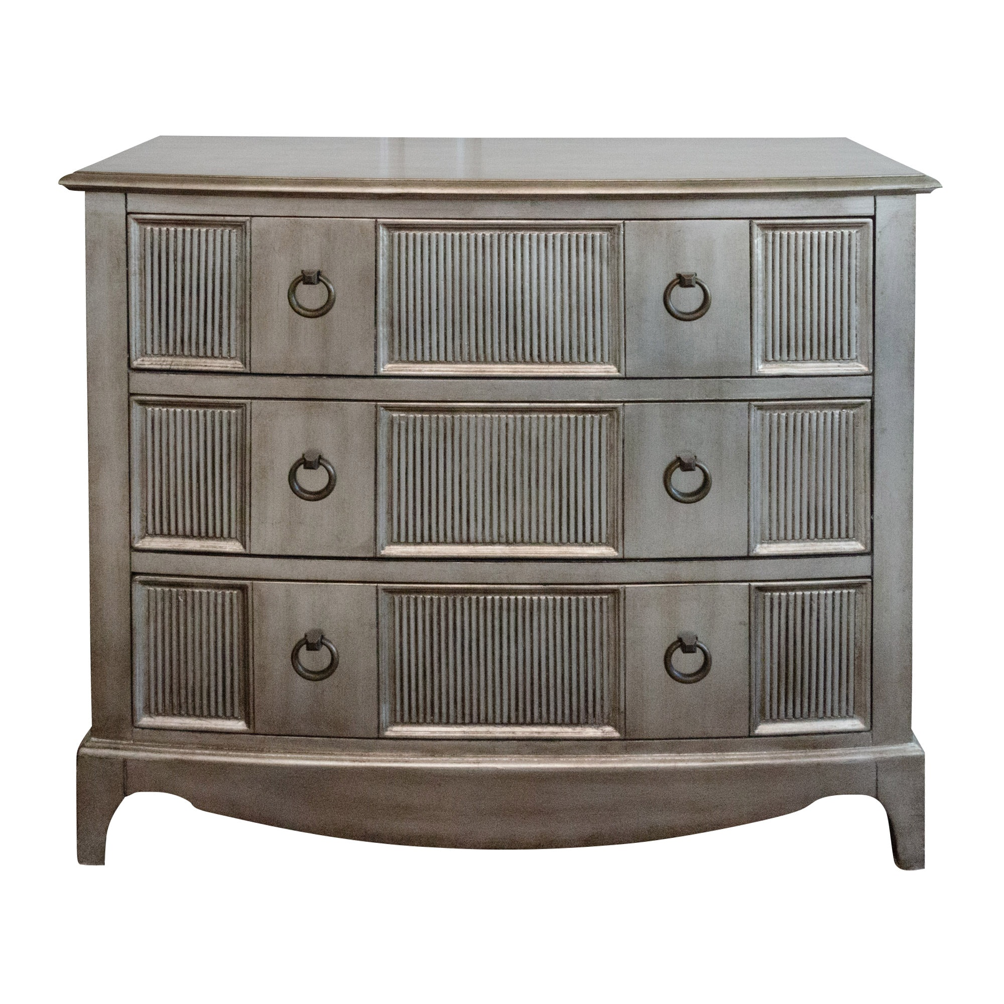 Contemporary Silvered Finish Wooden Chest of Drawers