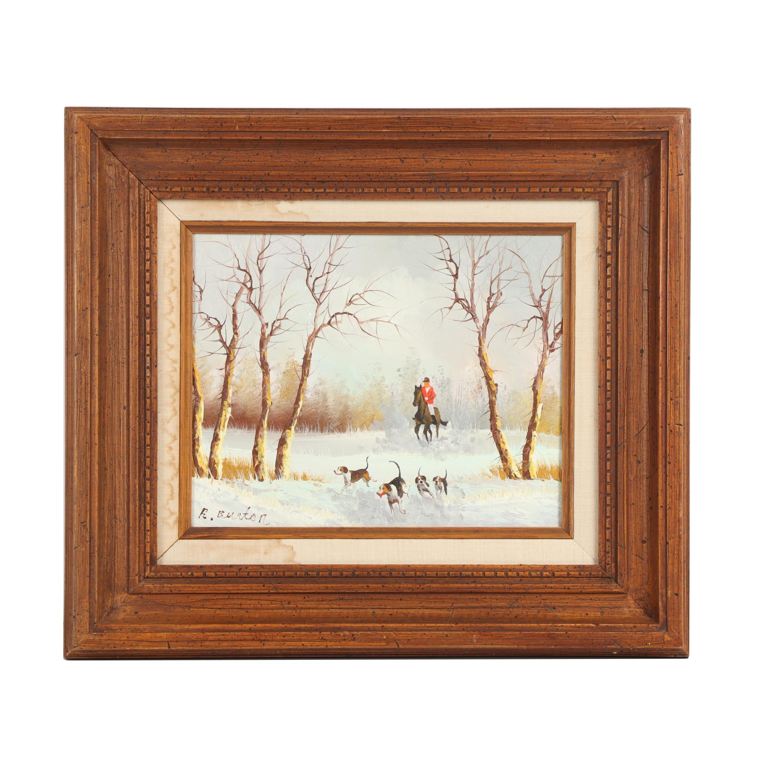 R. Burton Fox Hunting Oil Painting