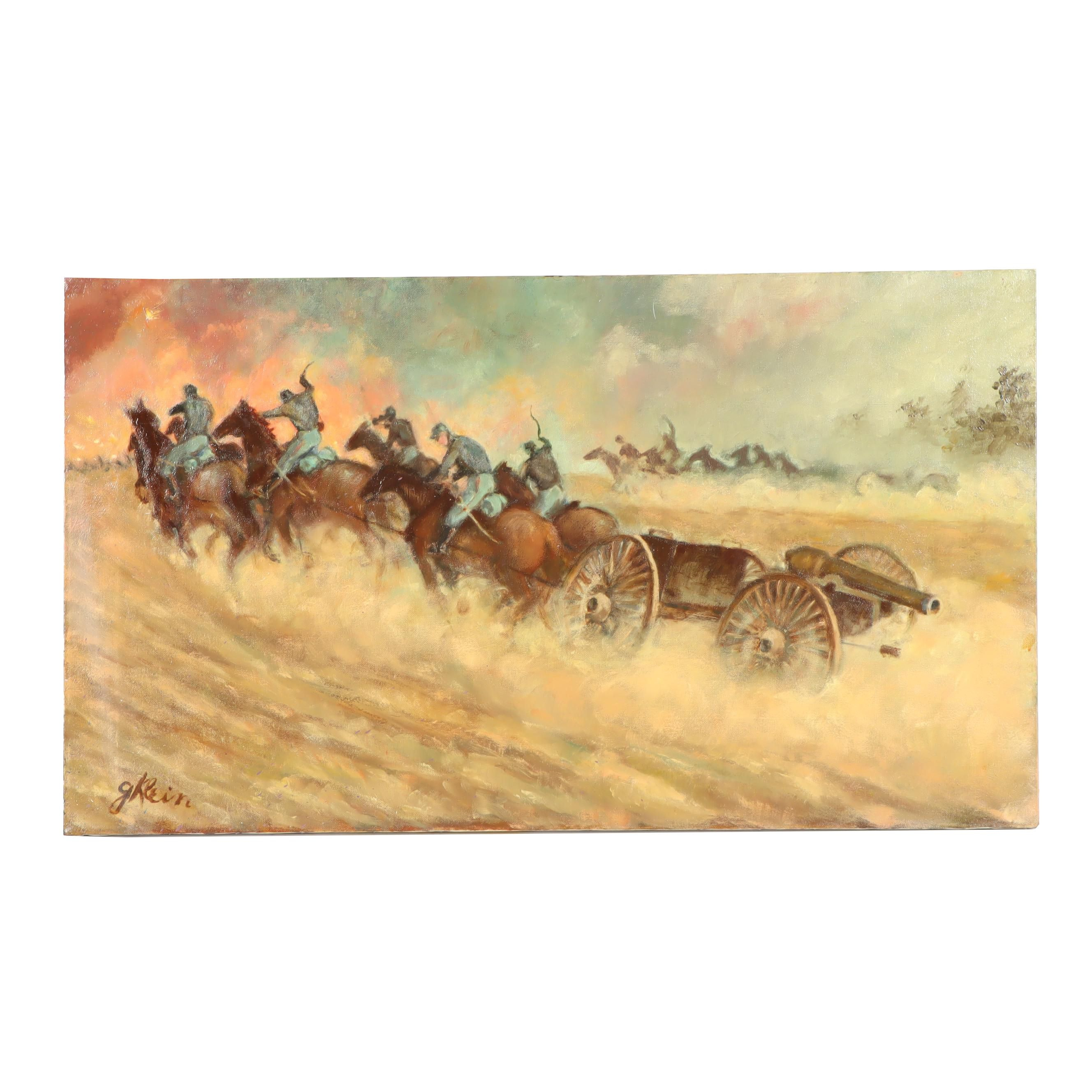 George Klein Civil War Battle Scene Oil Painting