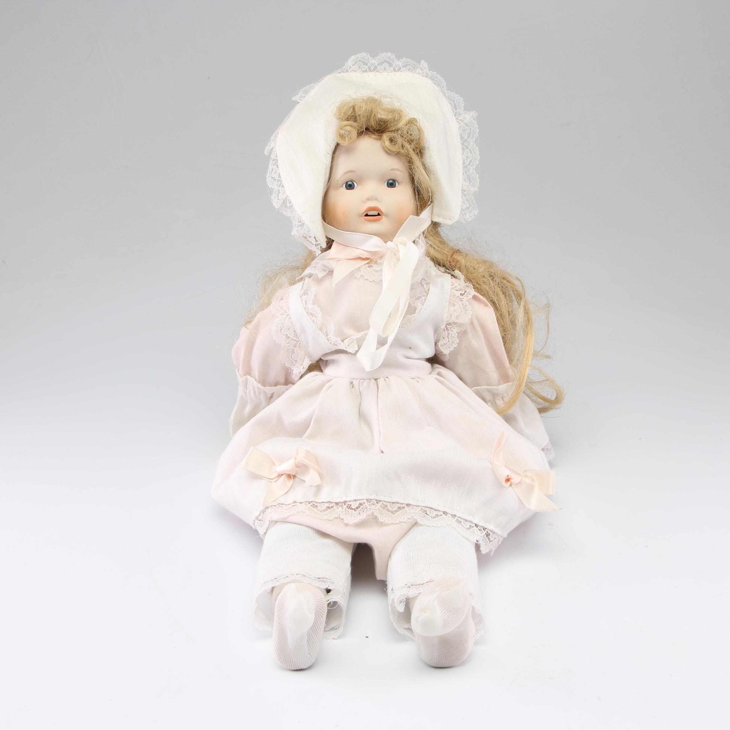 Porcelain Bisque Doll, Late 20th Century