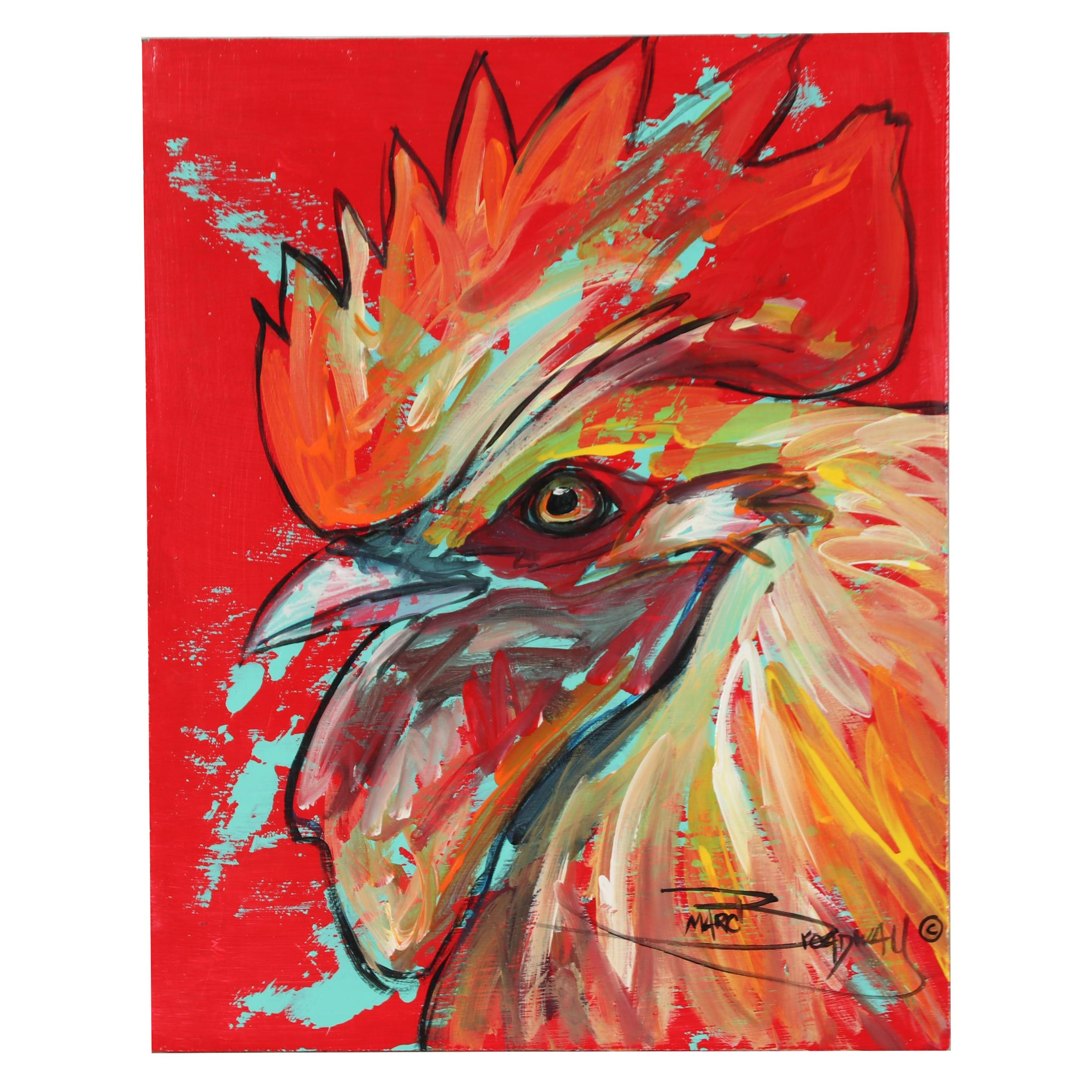 Marc Broadway Acrylic Painting of Rooster
