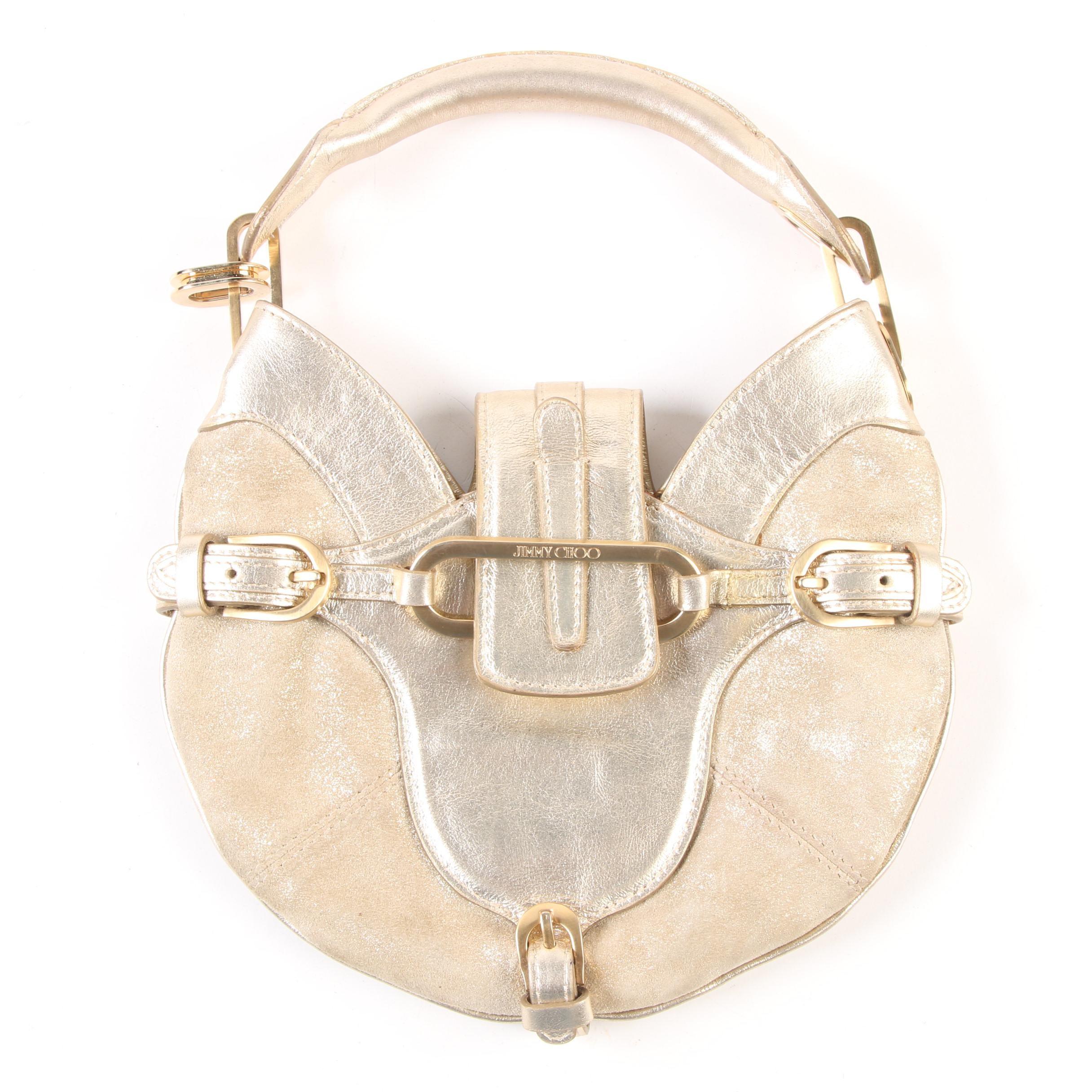 Jimmy Choo Mini Tulita Hobo Bag in Metallic Gold Leather and Suede