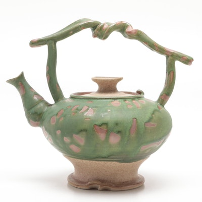 Larry Watson Thrown Porcelain Teapot with Wax Resist Glaze, Late 20th Century