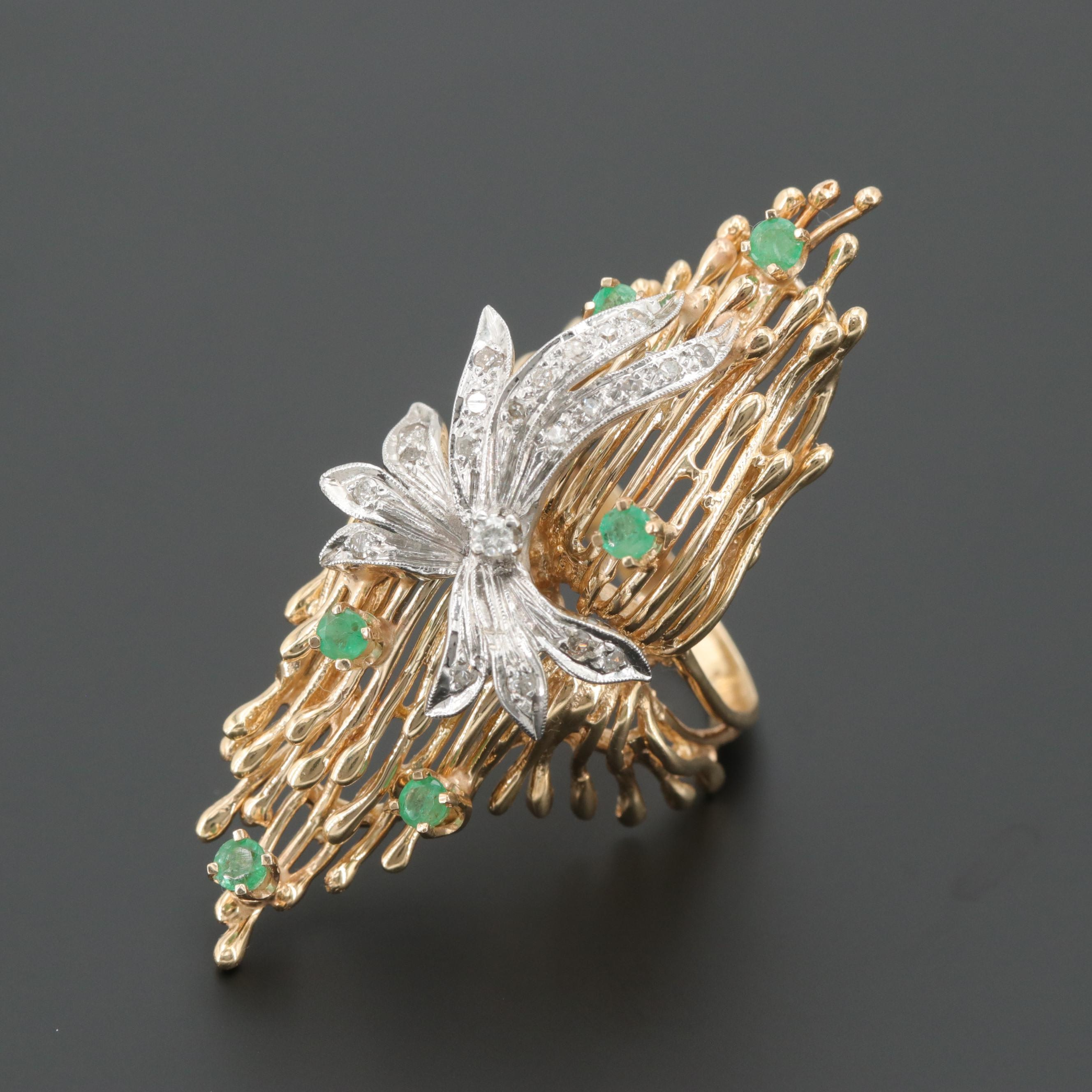 14K White and Gold Diamond and Emerald Ring