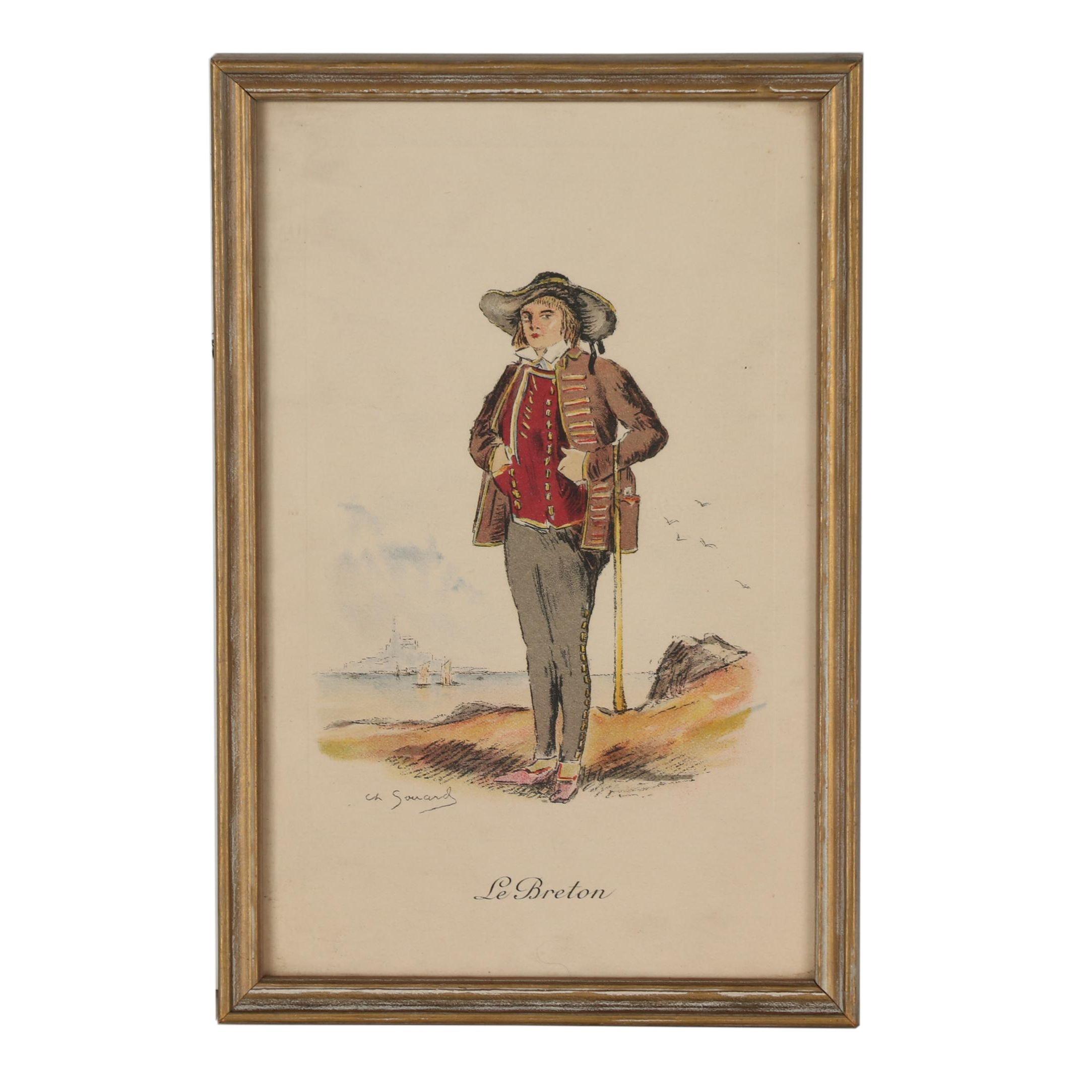 "Color Lithigraph after Charles Sénard ""Le Breton"""