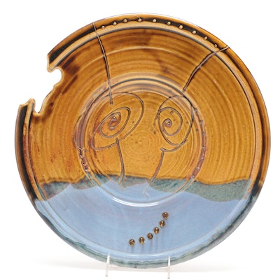Larry Watson Bead Embellished Thrown Porcelain Charger, Circa 2011
