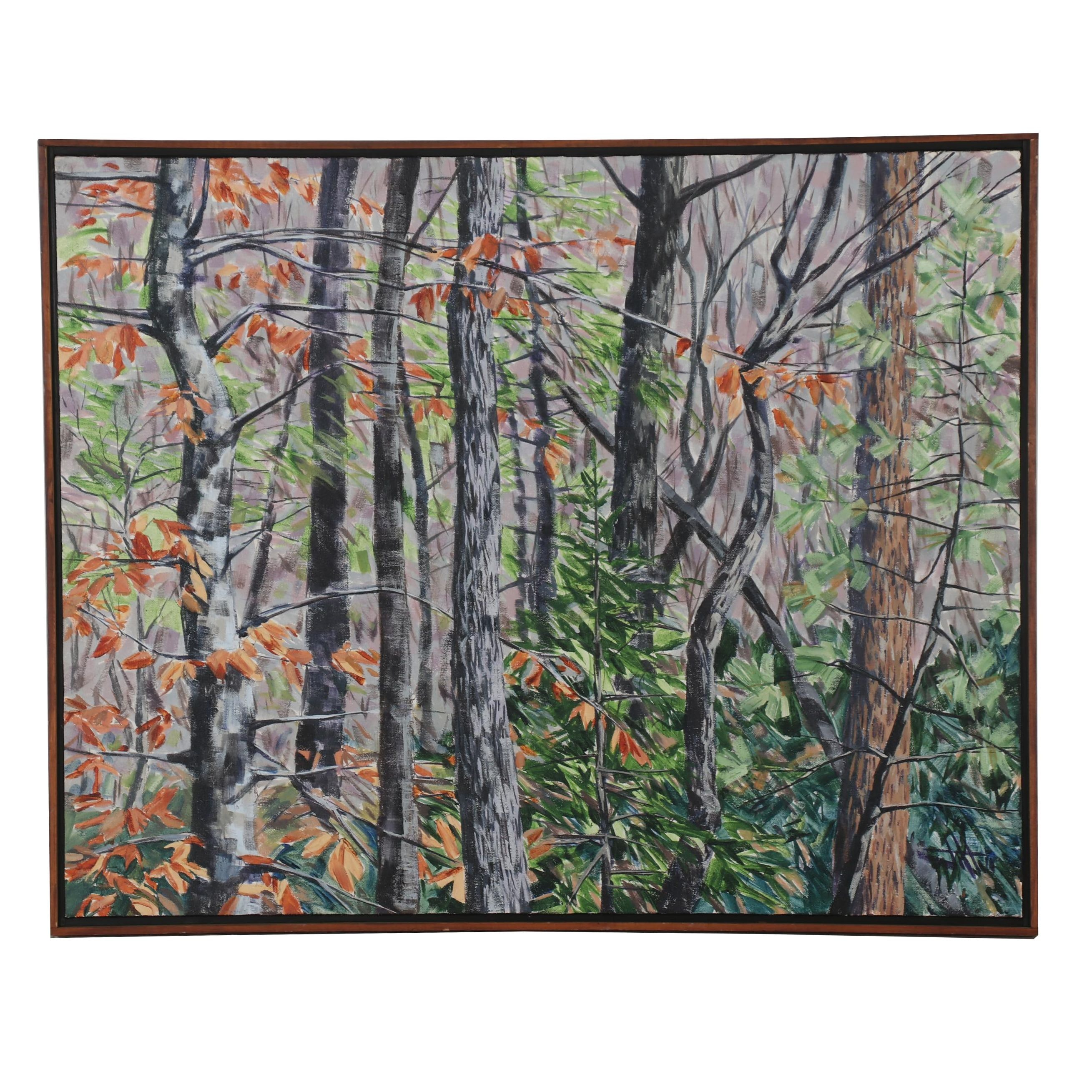 """Stephen L. Jatho 1994 Abstract Acrylic Painting """"Winter Woods - K.Y."""""""