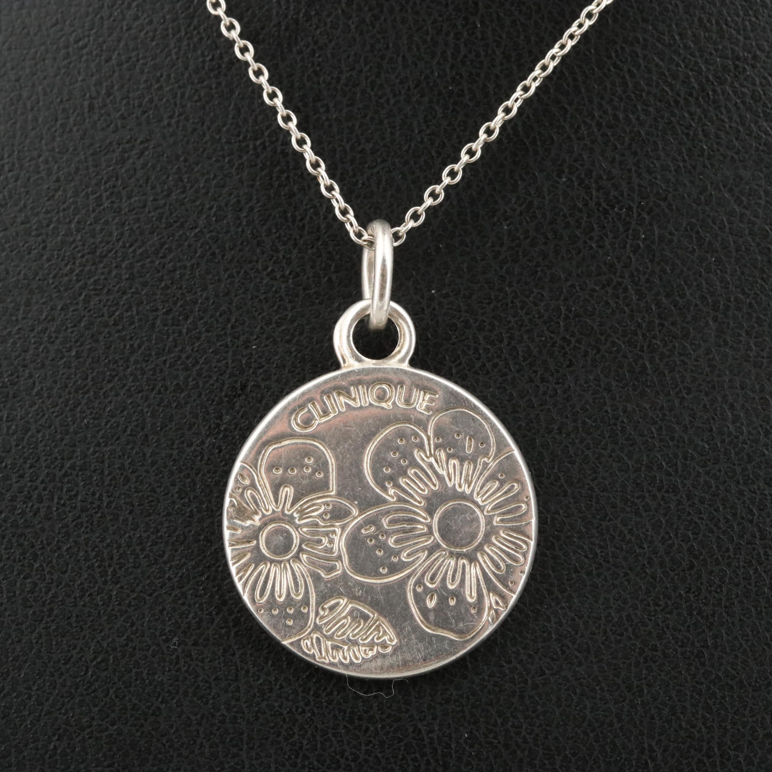 Tiffany & Co Sterling Silver Clinique Floral Pendant Necklace