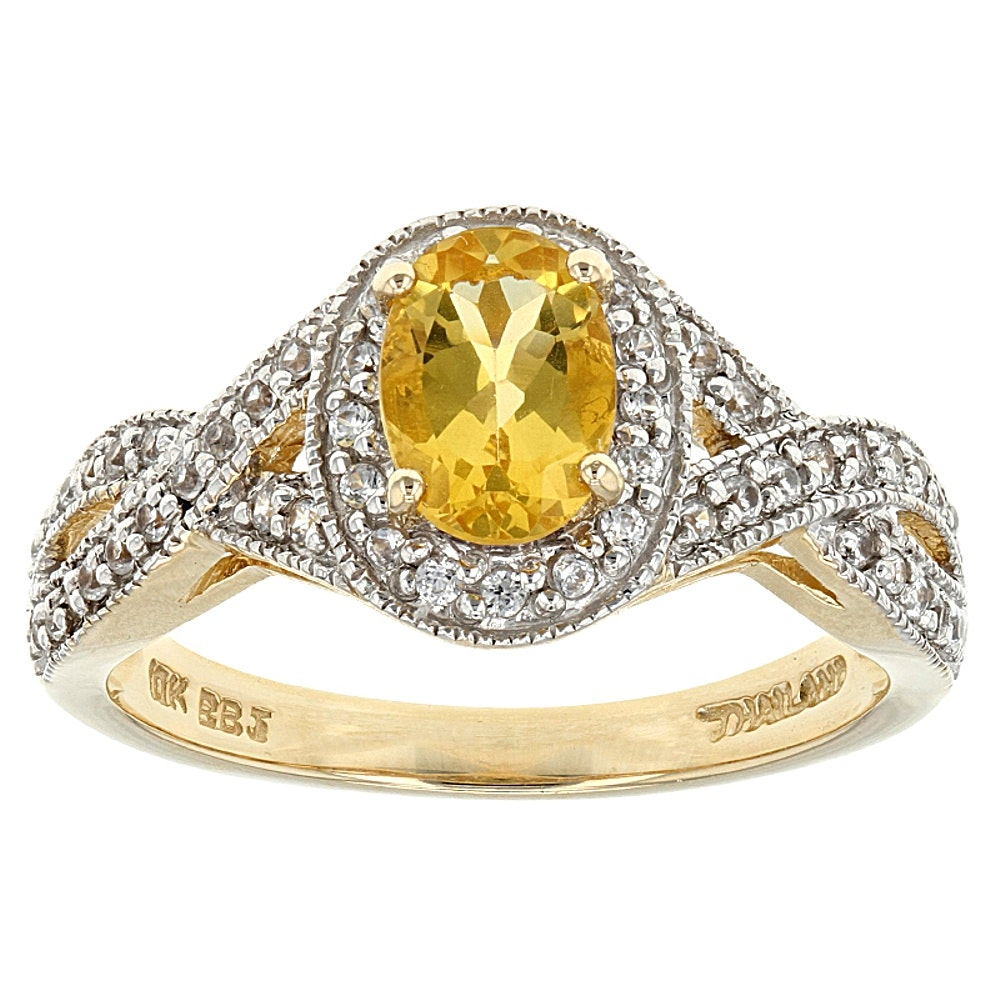 10K Yellow Gold Yellow Beryl and White Zircon Ring