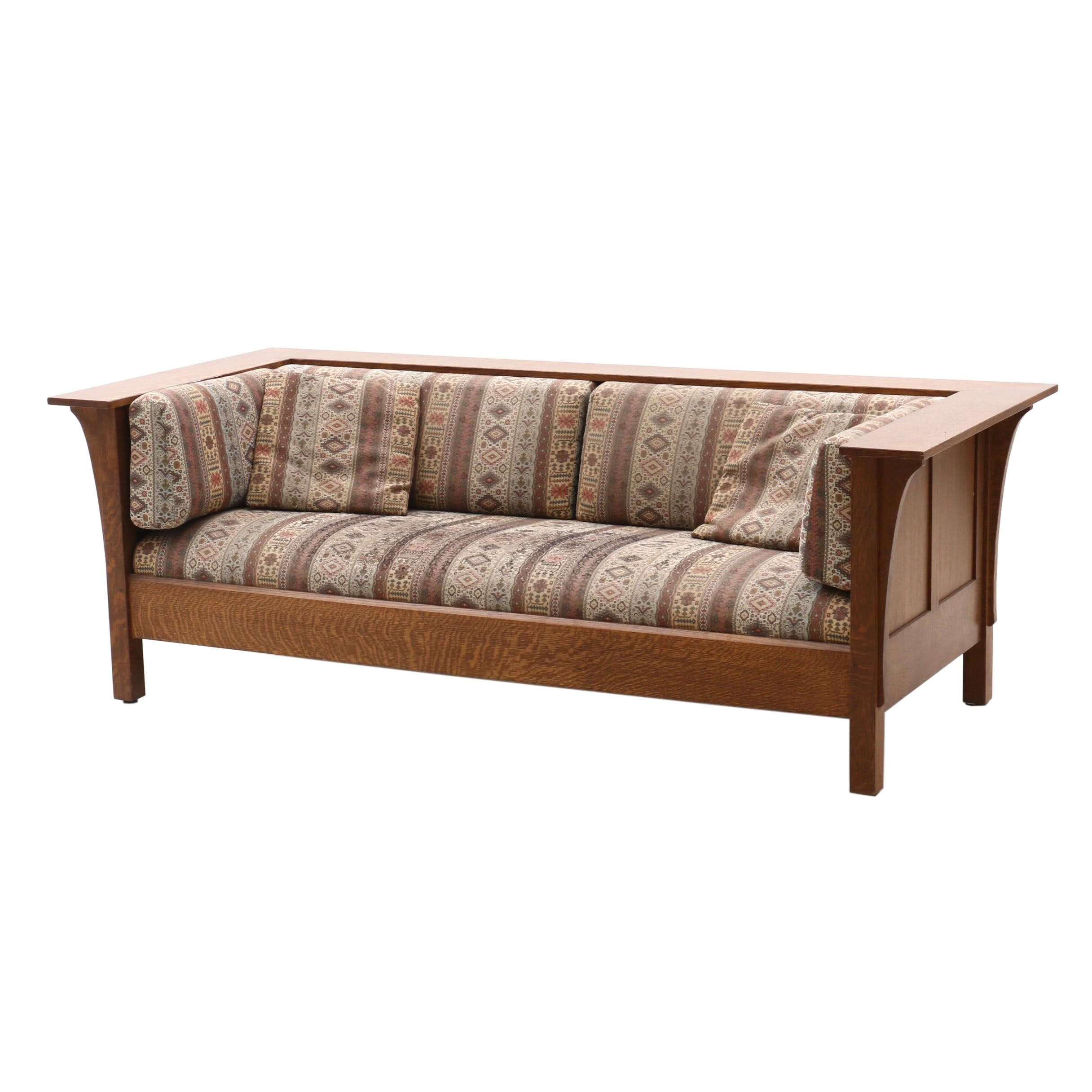 Arts and Crafts Style Stickley Oak Upholstered Sofa