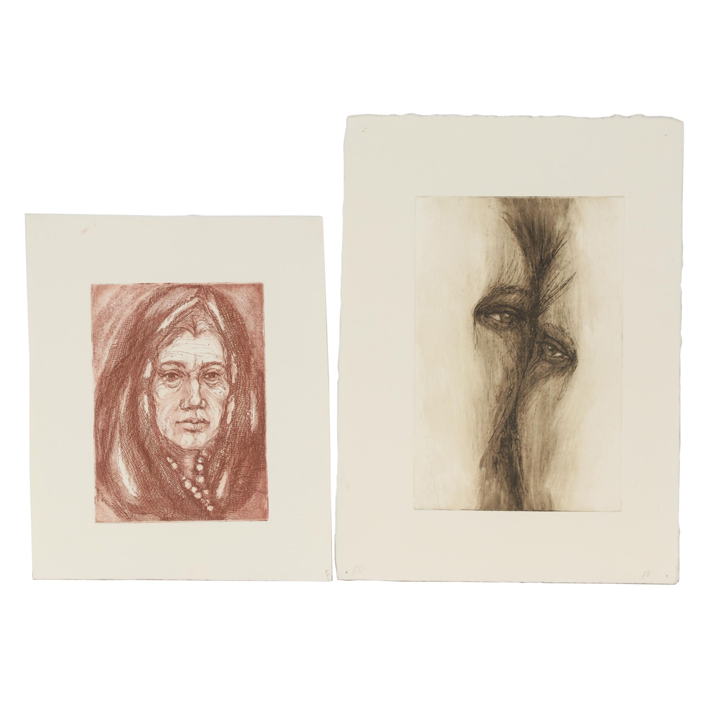Ruth Rolfsen Etchings with Aquatint of Abstract Portraits