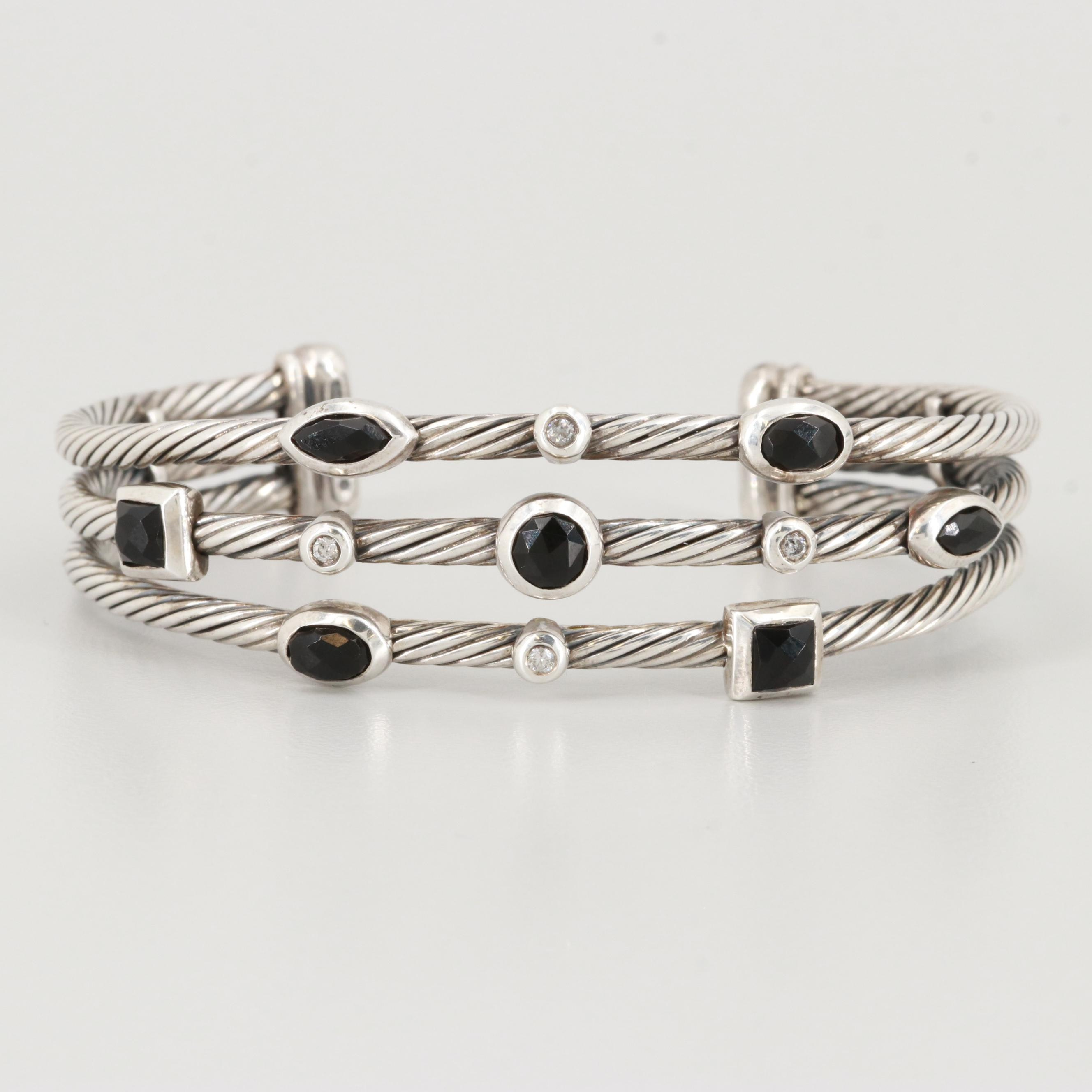 "David Yurman Diamond and Black Onyx ""Confetti"" Three Row Cuff Bracelet"