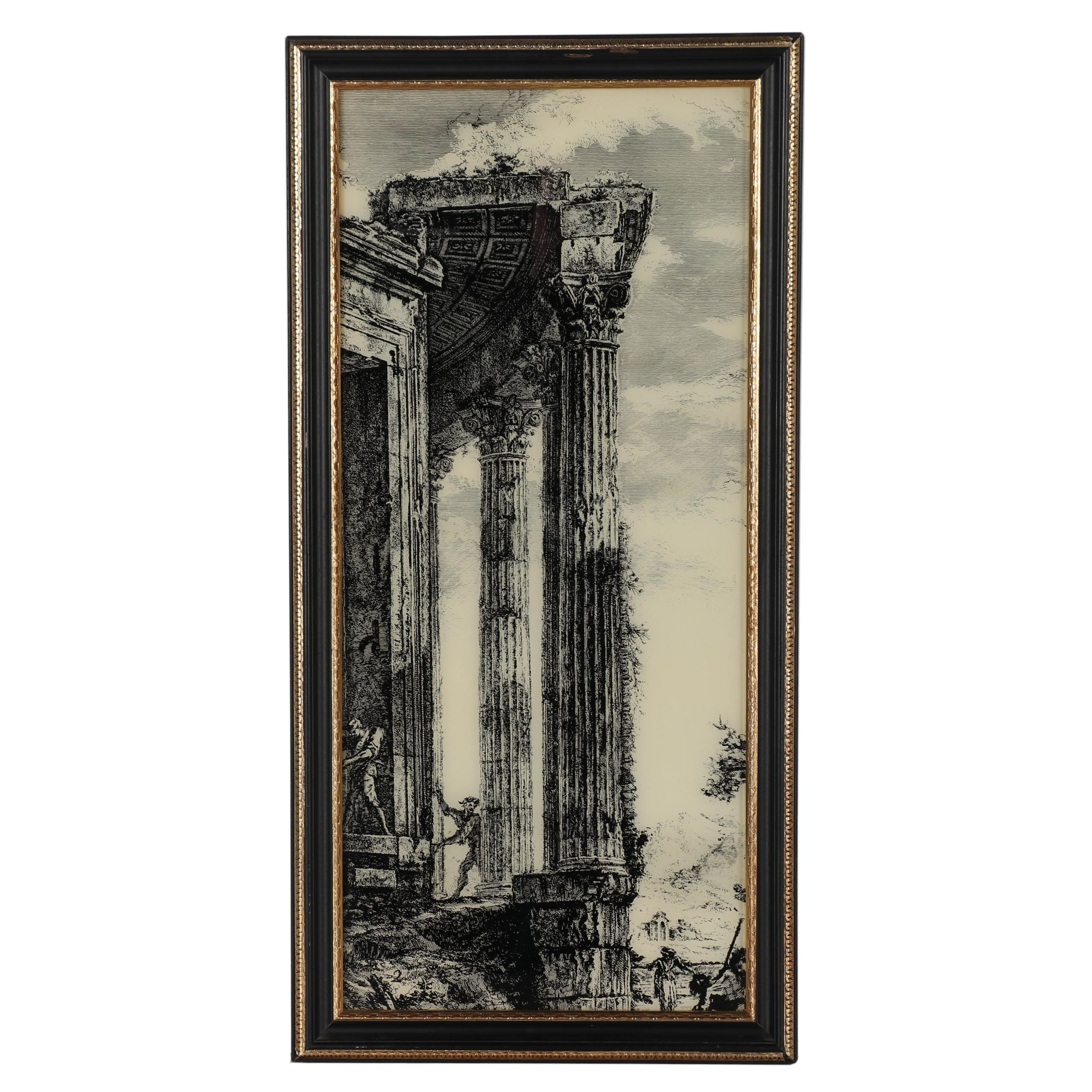 Late 20th century Reverse Glass Serigraph of The Door of the Temple of Vesta