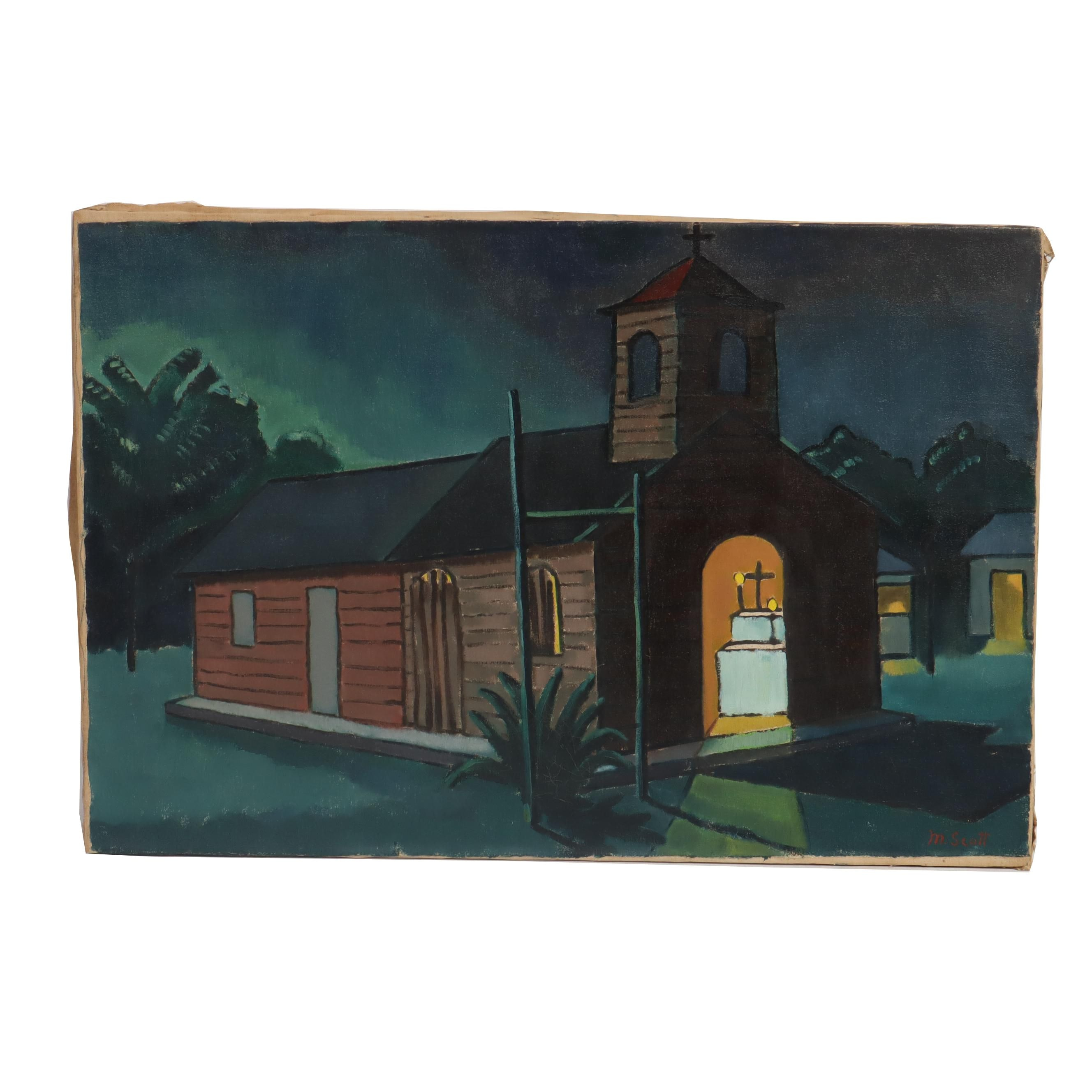 "Mabel Scott Oil Painting ""Church at Night Boca Chica"""