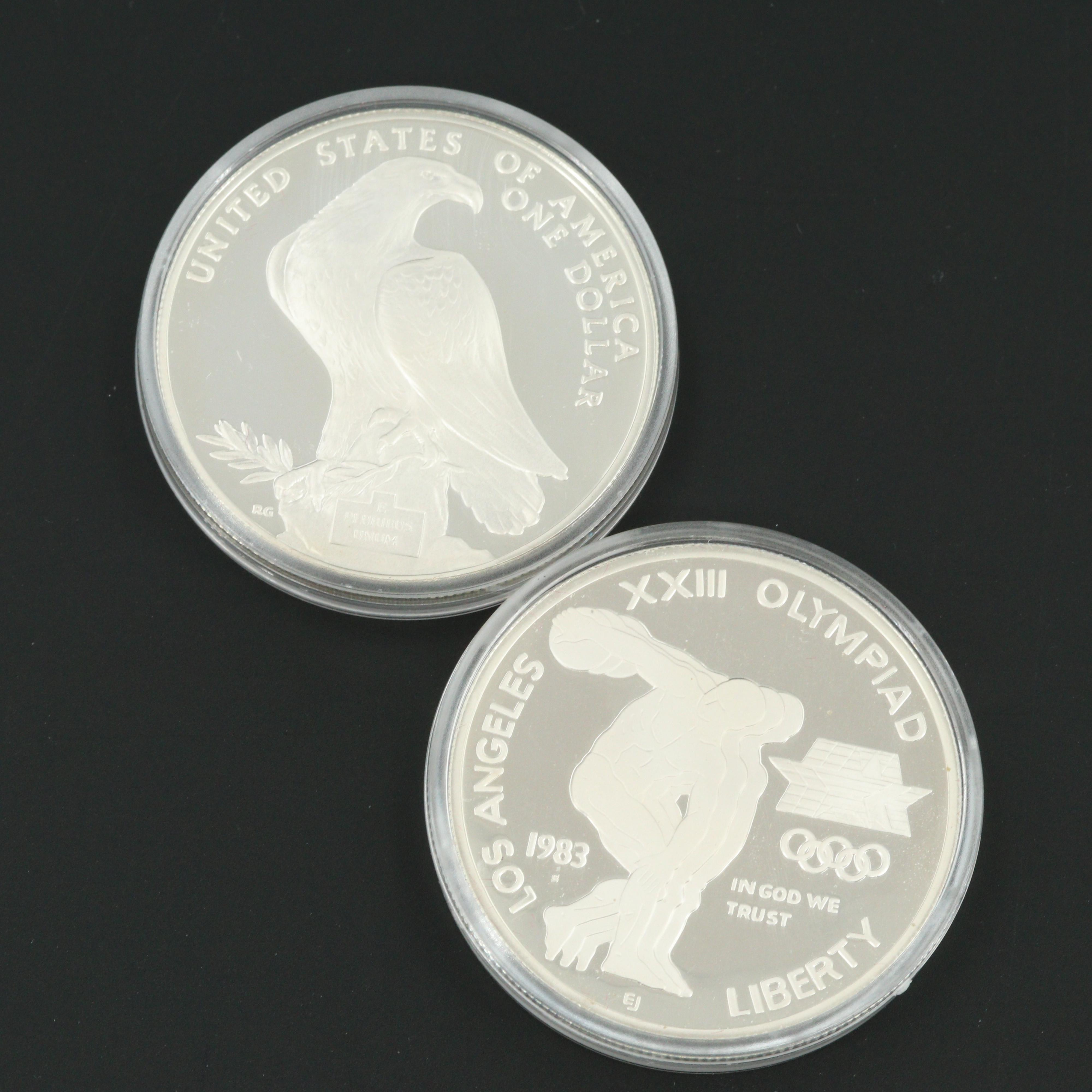 Los Angeles Olympiad Silver Dollar Two Coin Proof Set