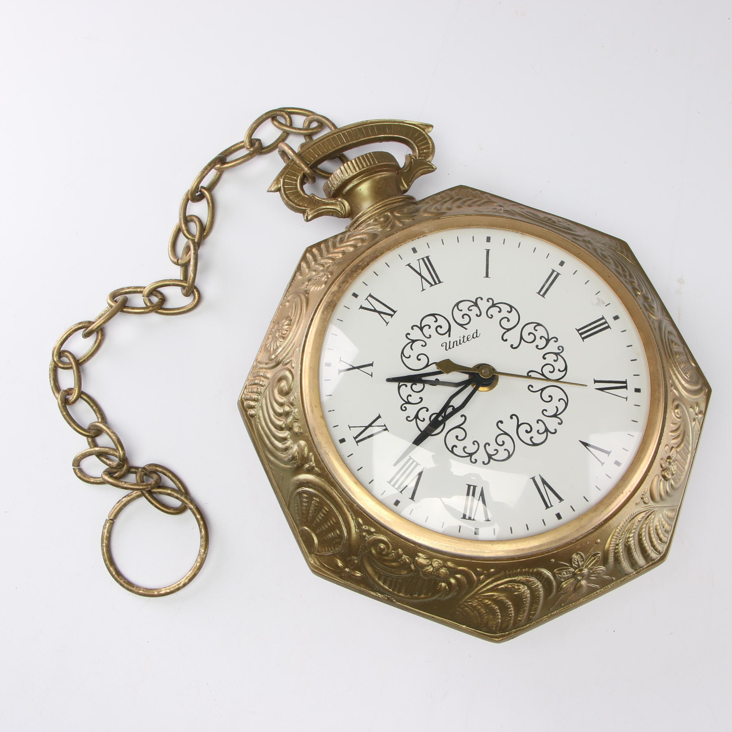 United Electric Pocket Watch Style Wall Clock, Mid-Century