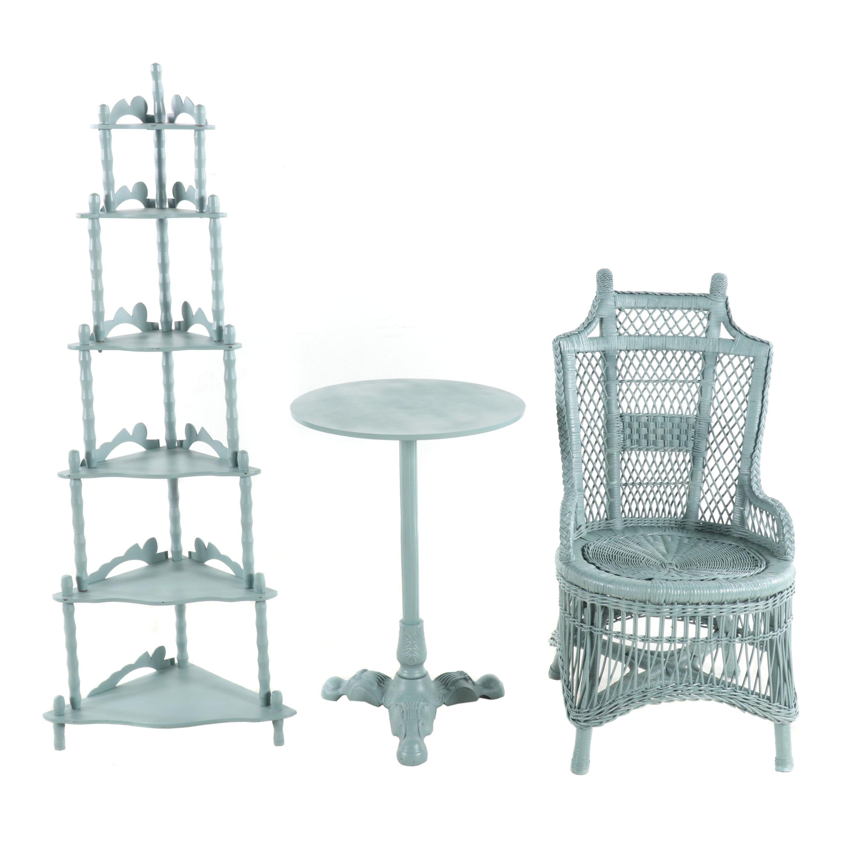 Light Blue-Painted Victorian Style Étagère, Metal Table and Wicker Chair
