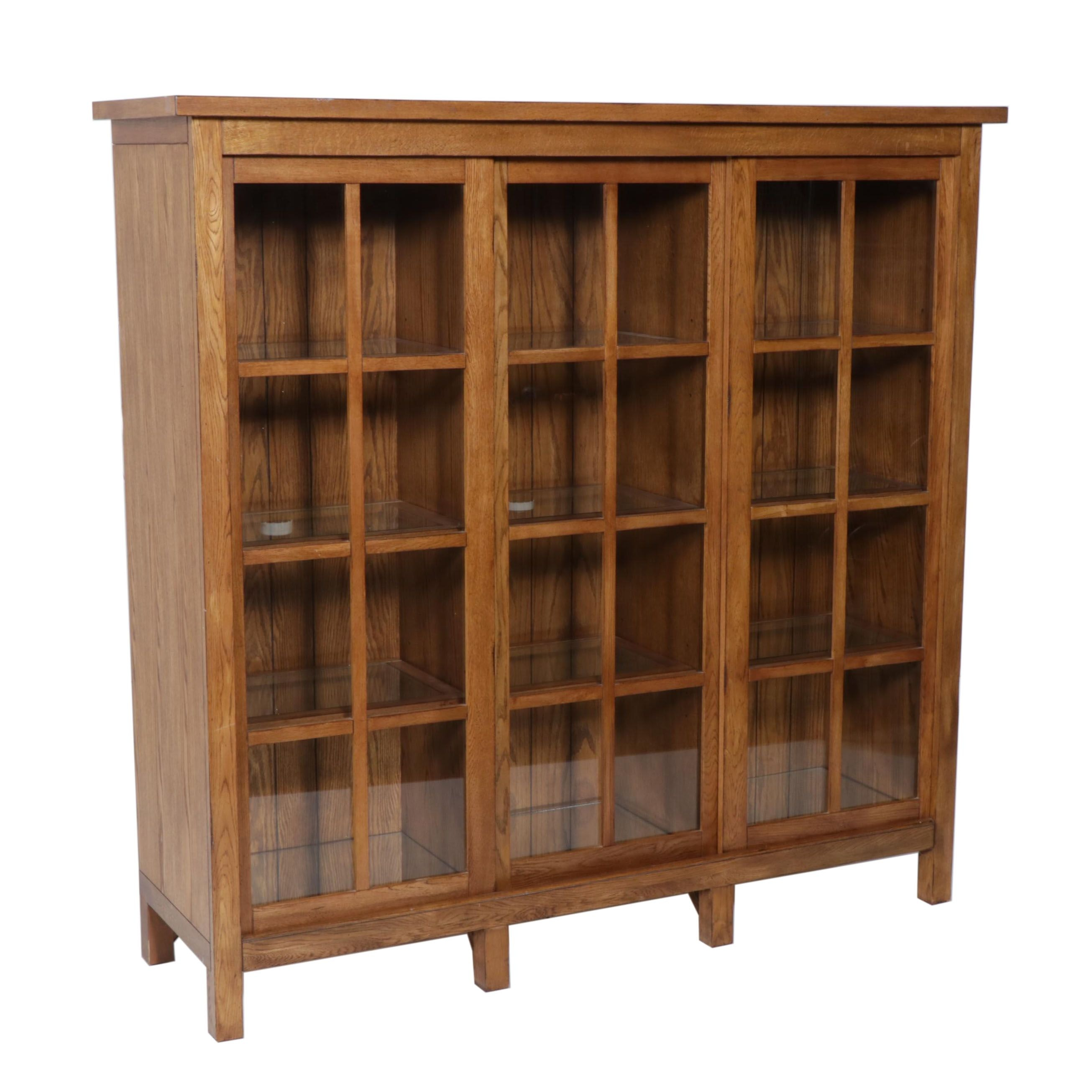 Glass Front Oak Finish Laminate Display Cabinet, Late 20th Century