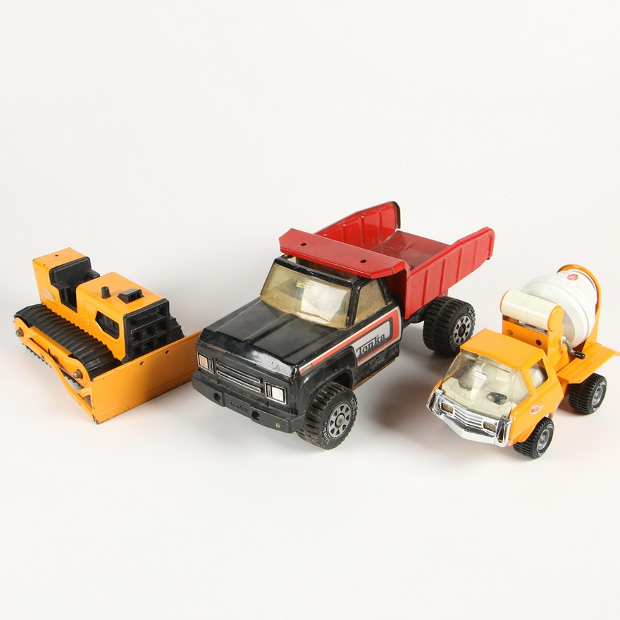 Tonka Toys Bulldozer, Cement Truck and Dump Truck