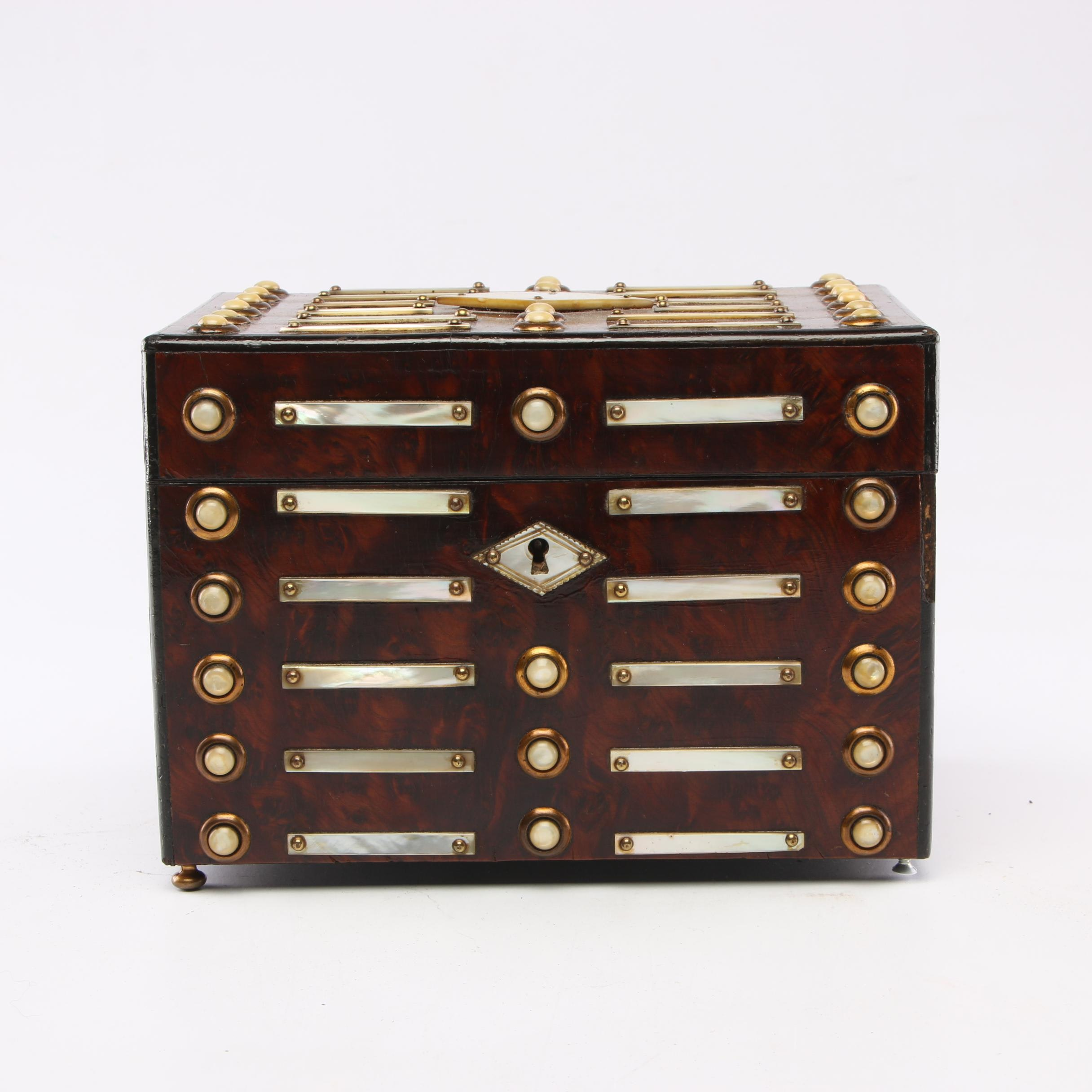 Burl Wood Humidor with Mother-of-Pearl Accents