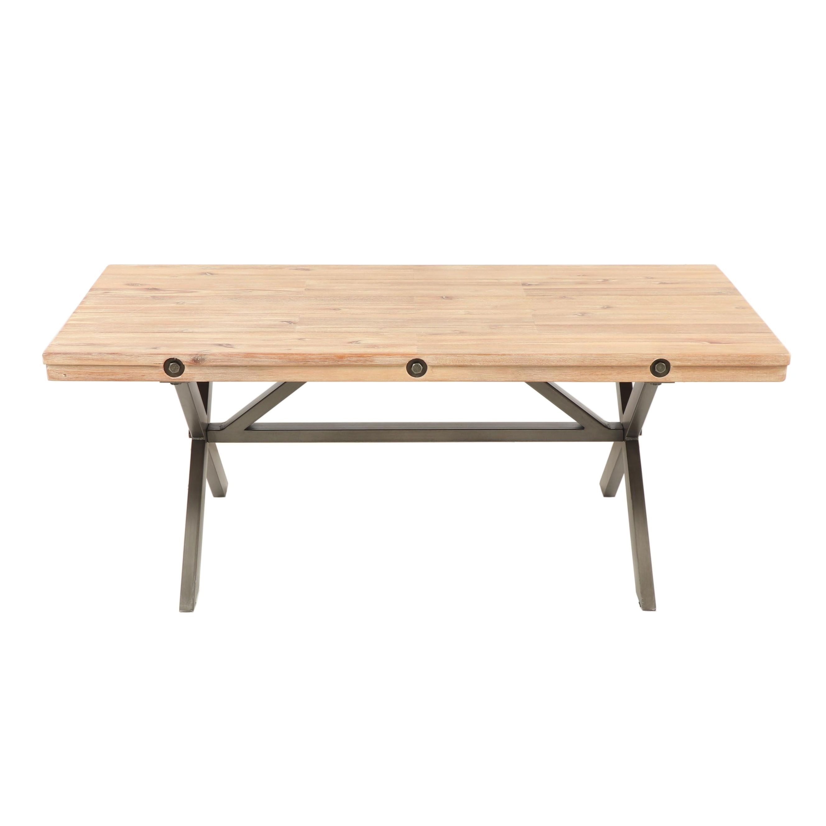 Contemporary Industrial Style Pine and Steel Cocktail Table