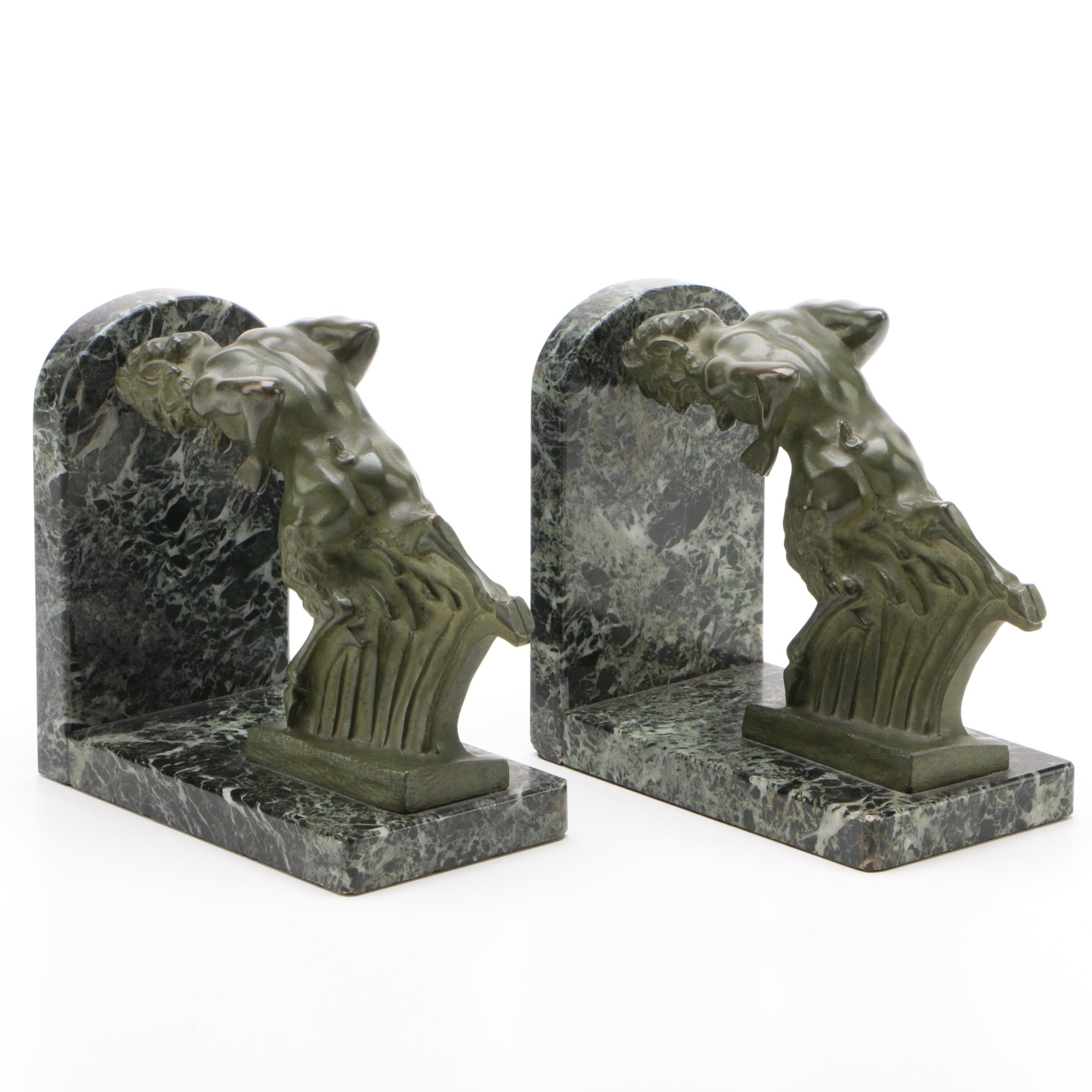 Art Deco Bronze and Marble Satyr Bookends by Irénée Rochard, Circa 1930s
