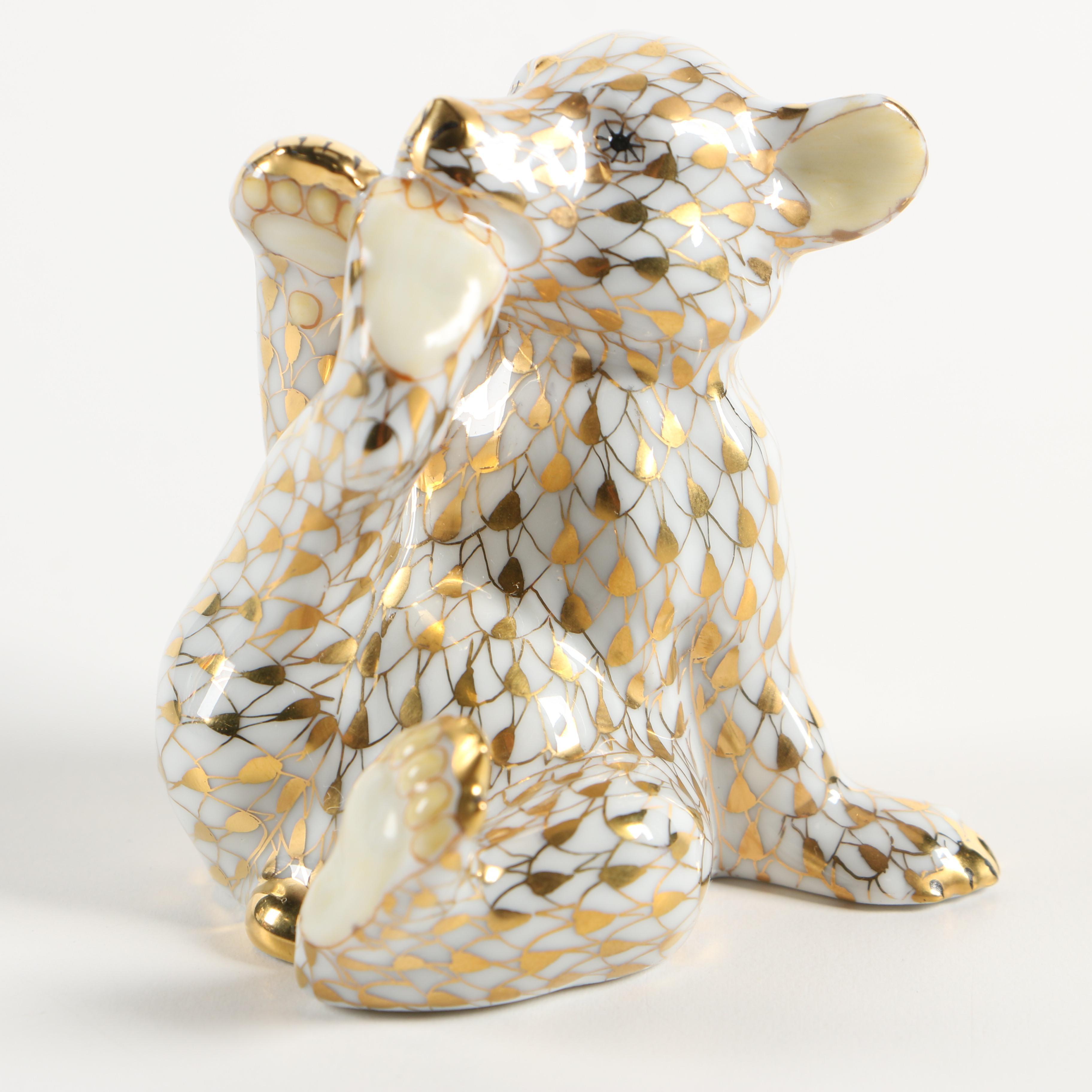 """Herend Guild Gold Fishnet """"Baby Bear"""" Porcelain Figurine, 2000"""