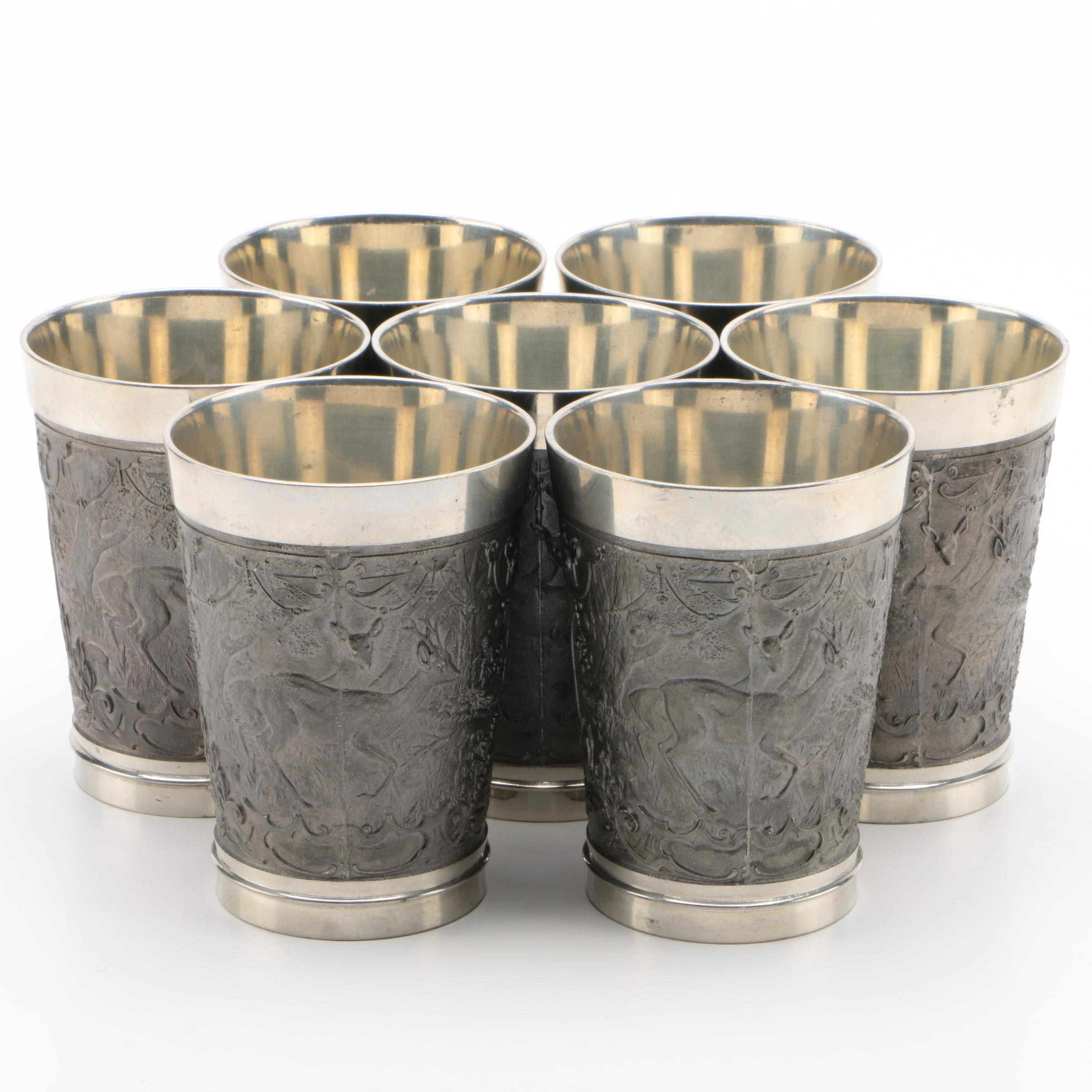 West Germany Pewter Plate Tumblers with Hunting Scenes in Relief, Set of Seven