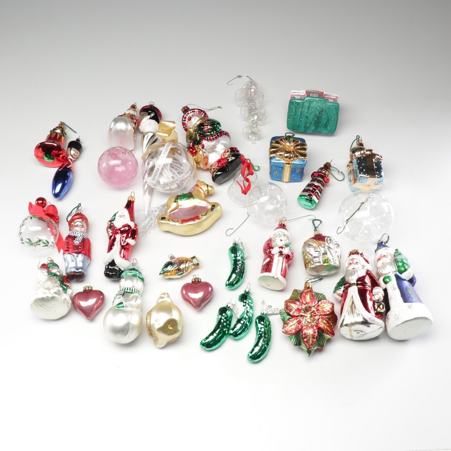 Glass Ornaments Including German Christmas Pickles
