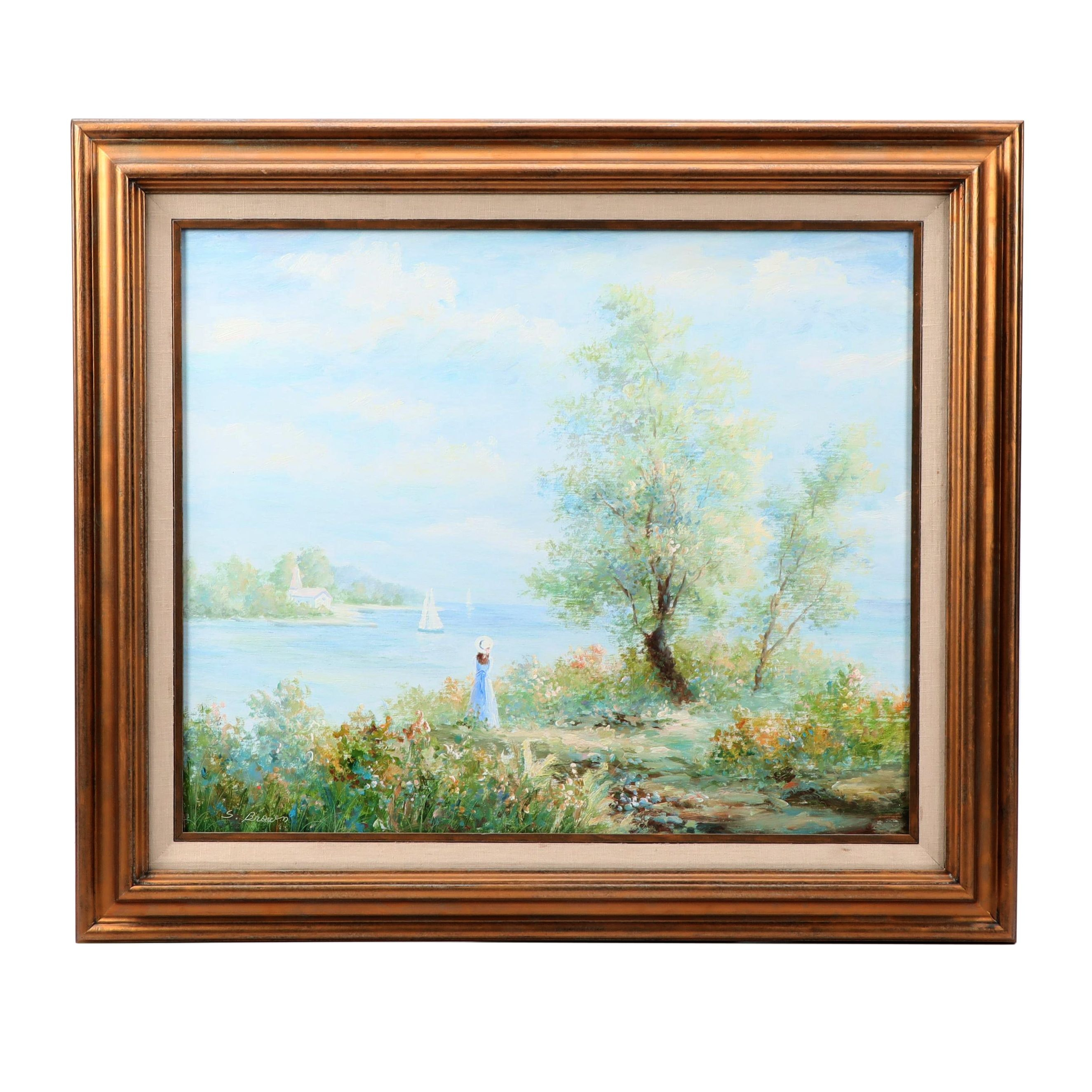 Oil Painting of a Woman in a Coastal Landscape