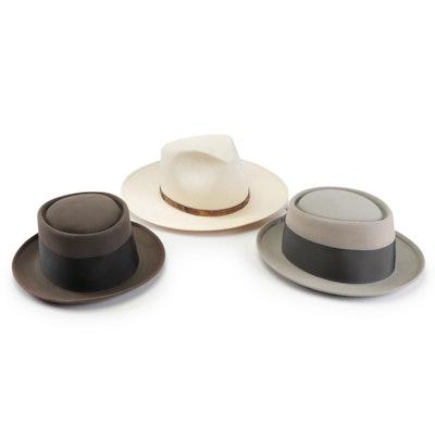 bbe063a2a07e0 Stetson 6X Shantung Panama and Felt Porkpie Hats and Dobbs Porkpie Hat
