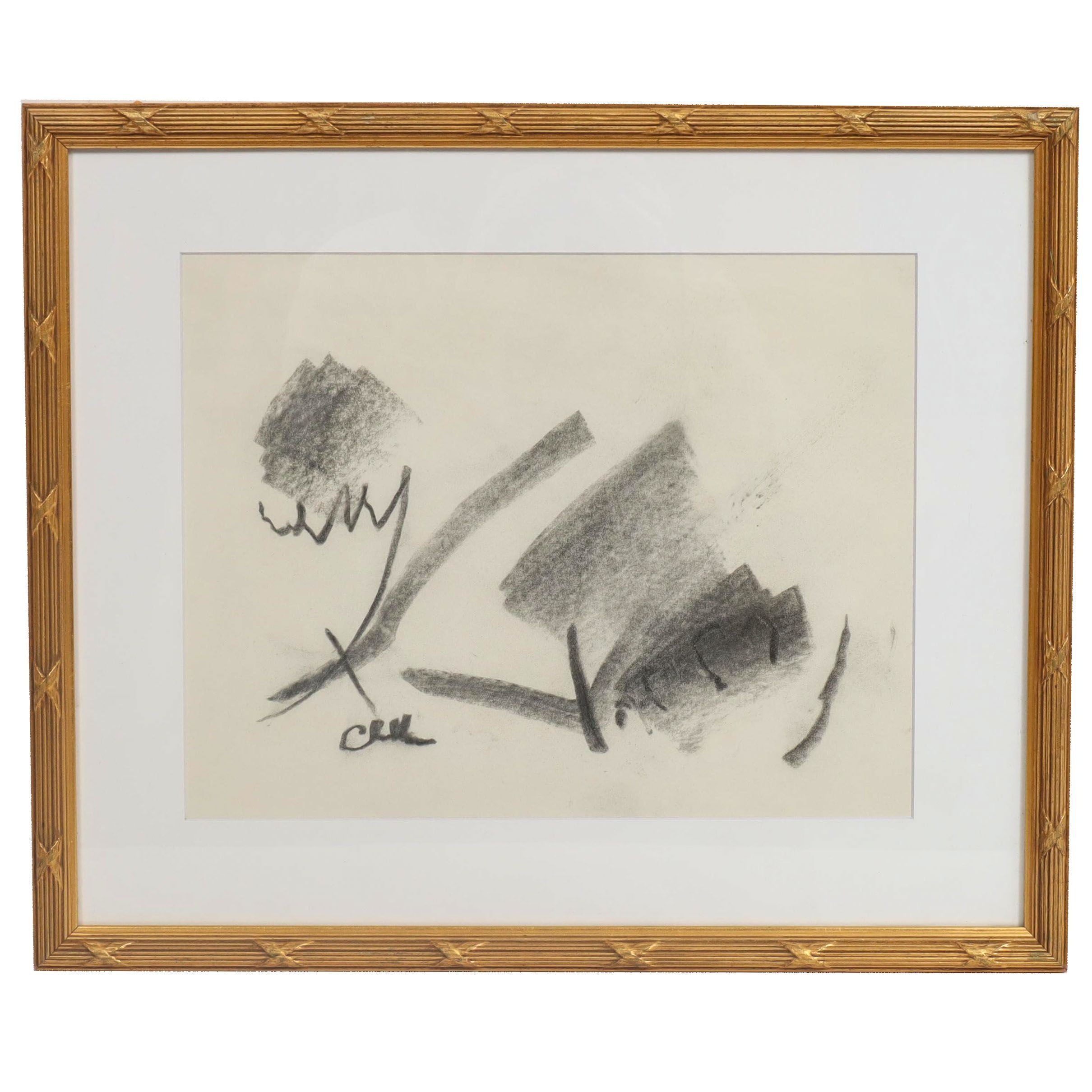 Paul Chidlaw Abstract Charcoal Drawing