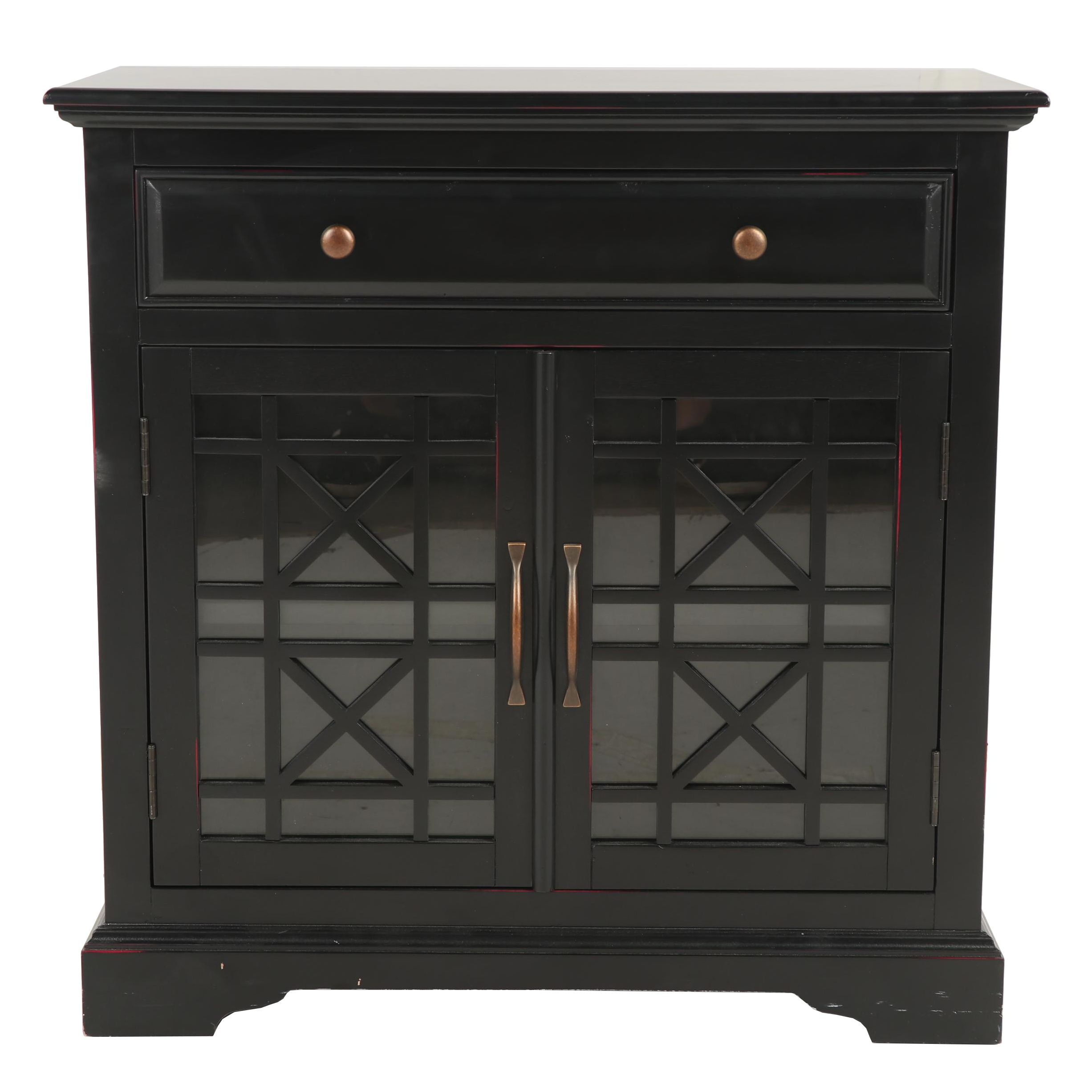 Contemporary Single Drawer Black-Painted Wooden Cabinet