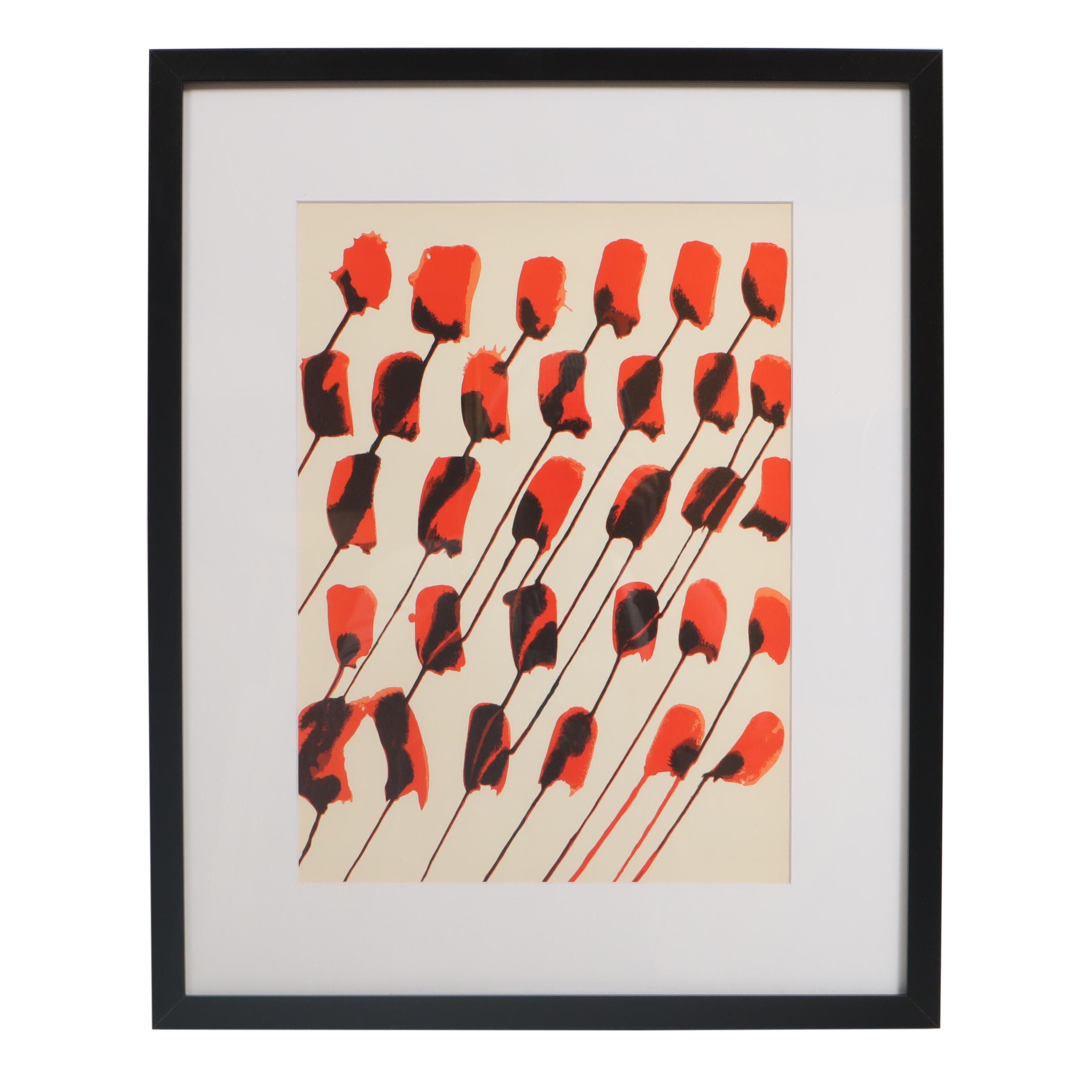 """Alexander Calder Color Lithograph """"Roses"""" for """"Derrière le Miroir"""""""