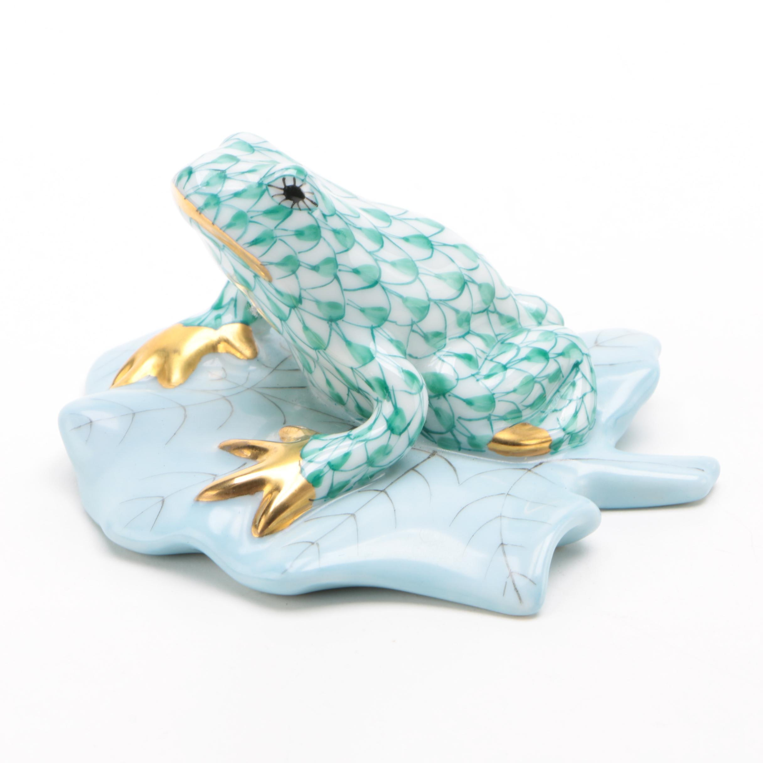 "Herend Green Fishnet ""Frog on Lily Pad"" Porcelain Figurine, April 1993"