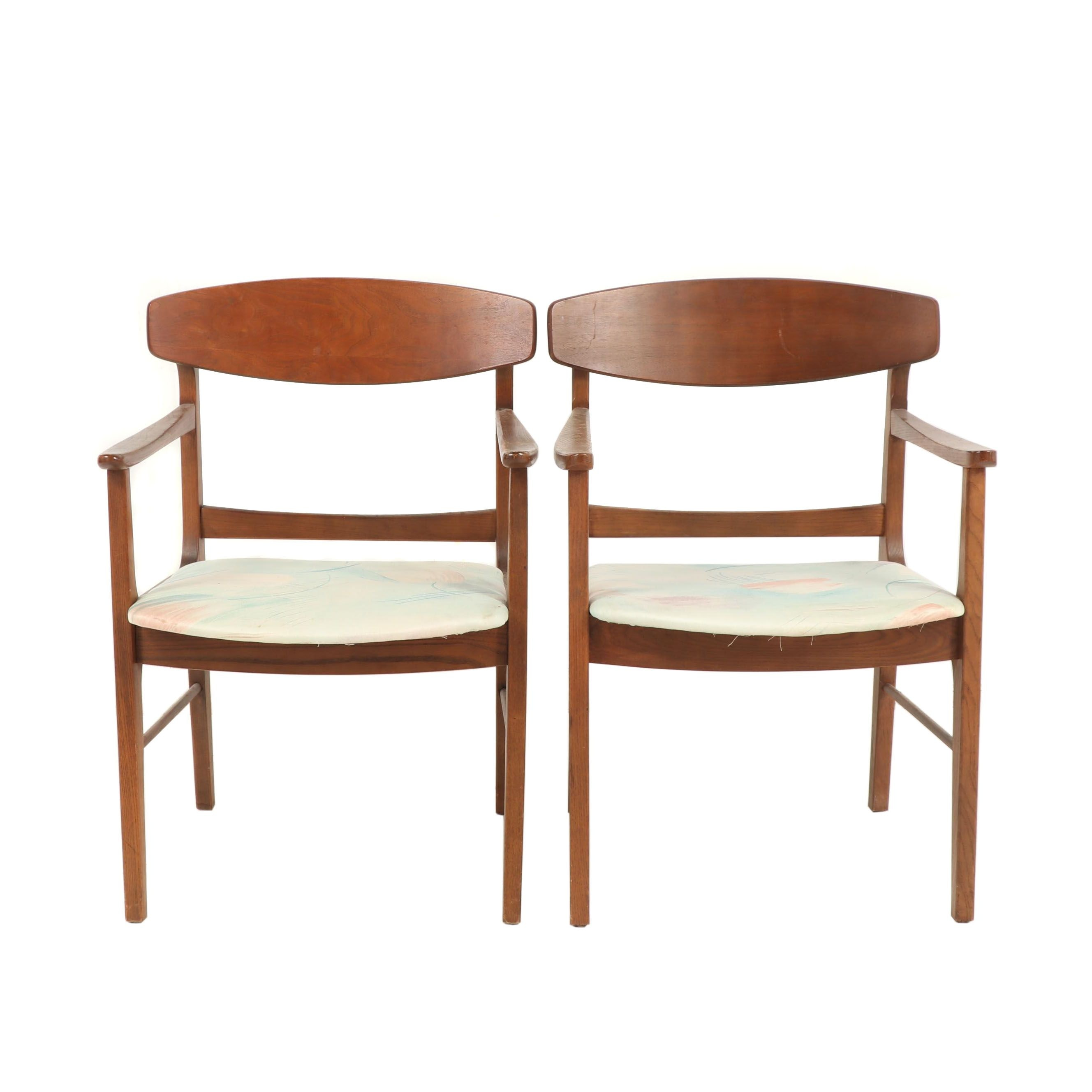 A Pair of Wooden Arm Chairs with Upholstered Seats