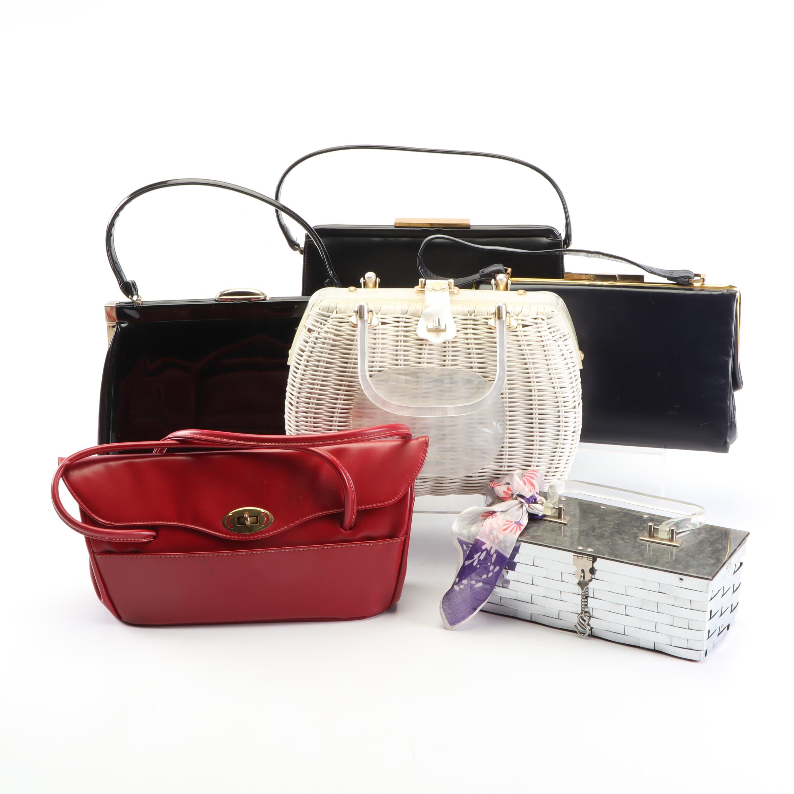 Dorset Rex, A-Frame, Patent Leather, and Wicker Handbags, Vintage