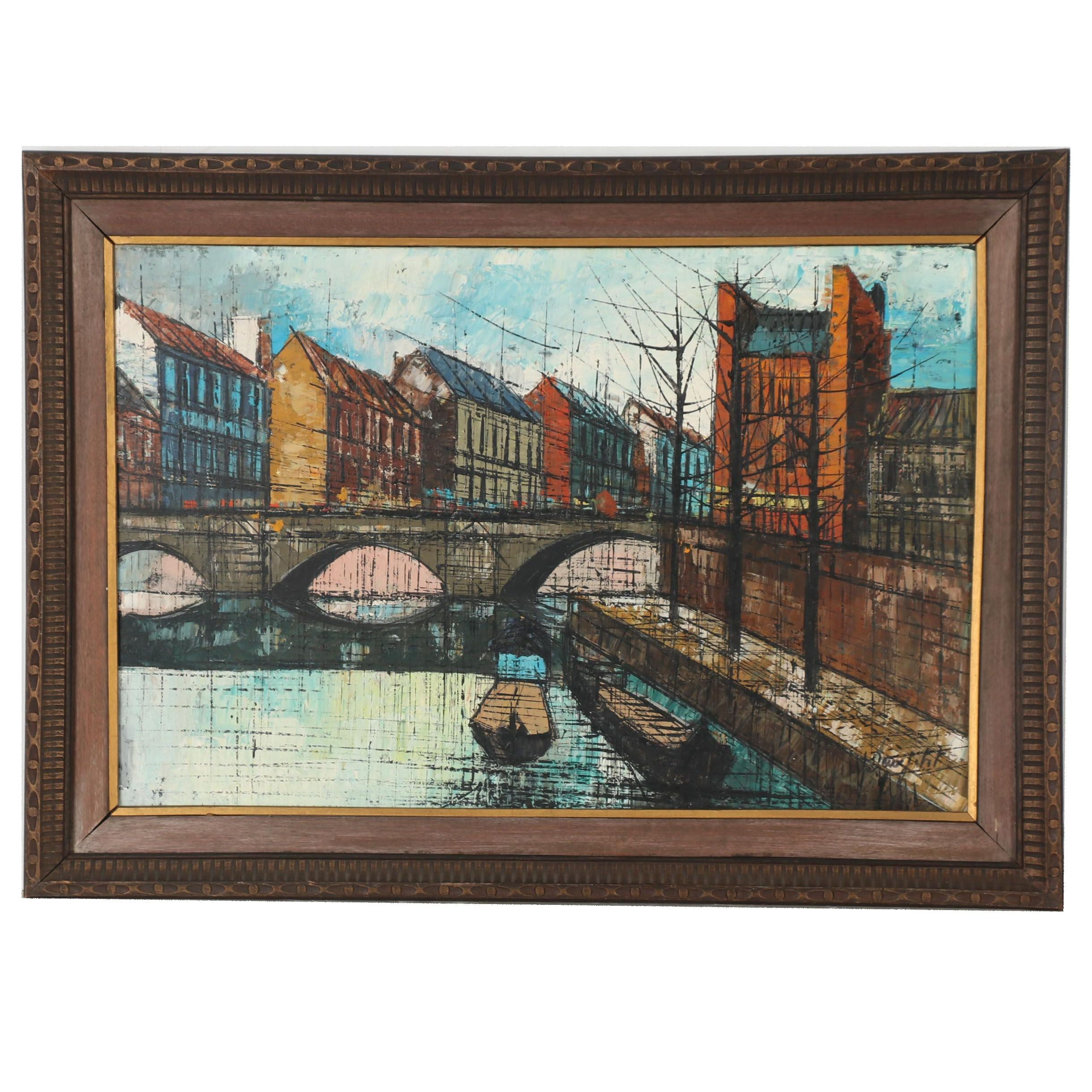 Late 20th Century Oil Painting of European Canal Scene