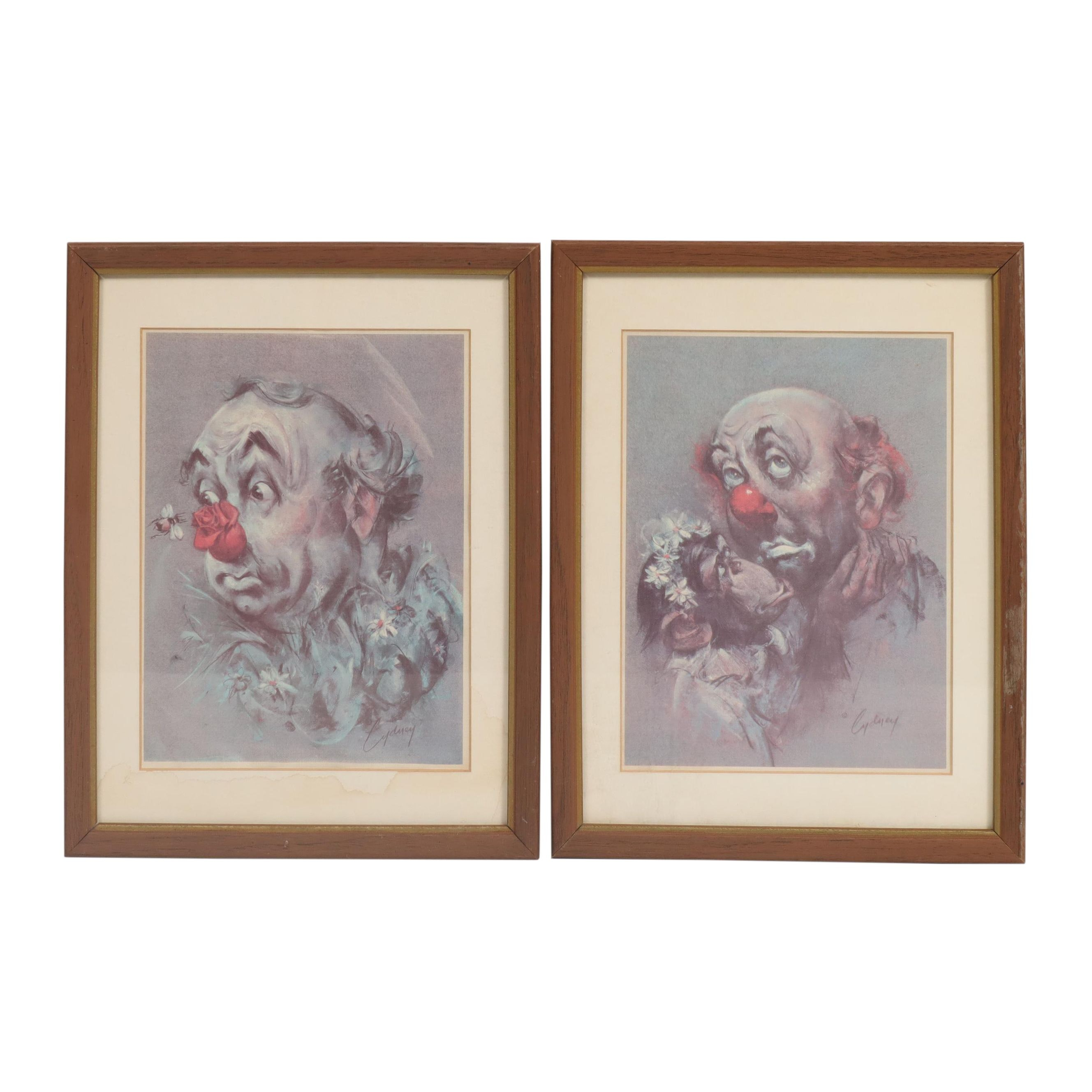 Clown Offset Lithographs after Cydney Grossman
