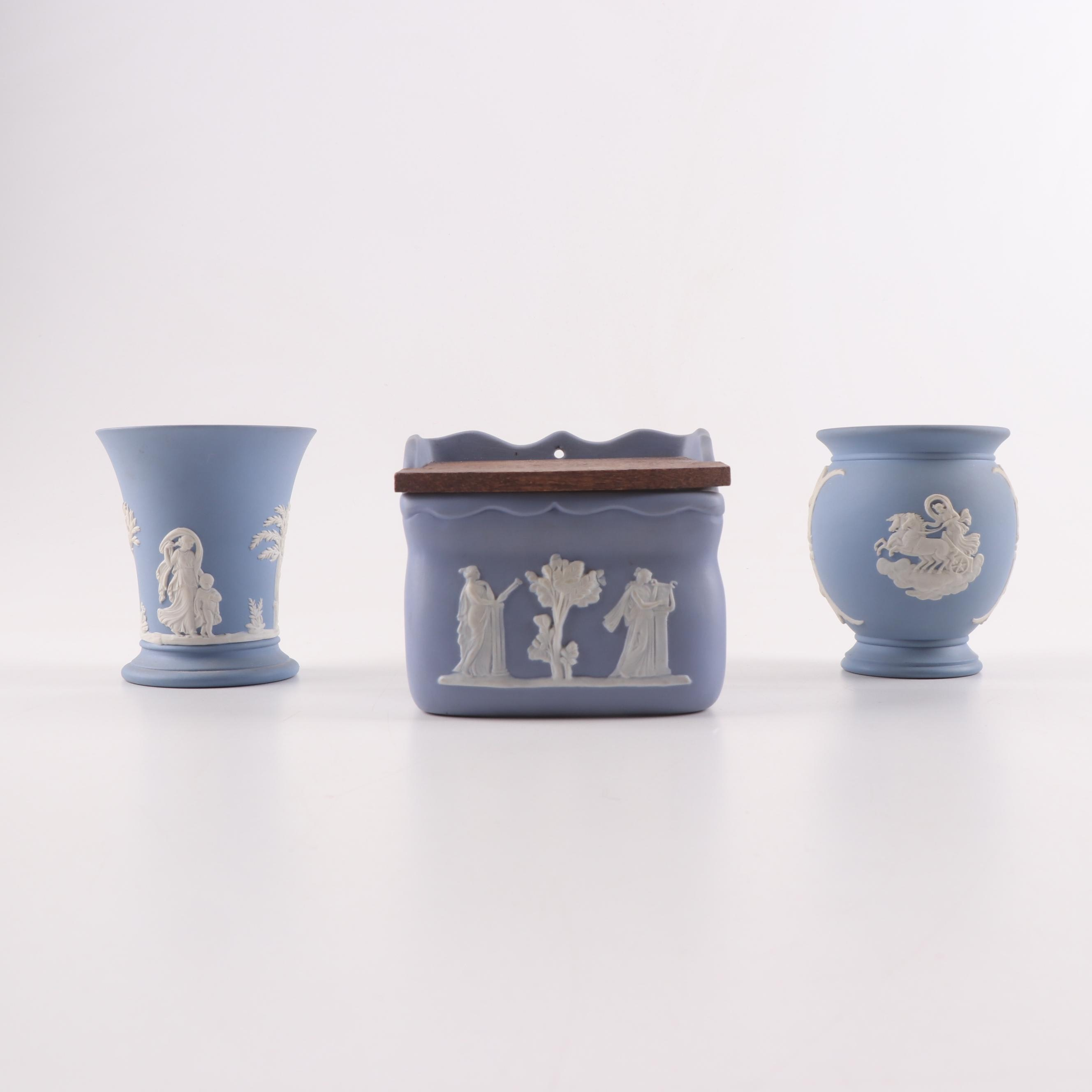 Wedgewood Jasperware Vases and Wall Mount Box